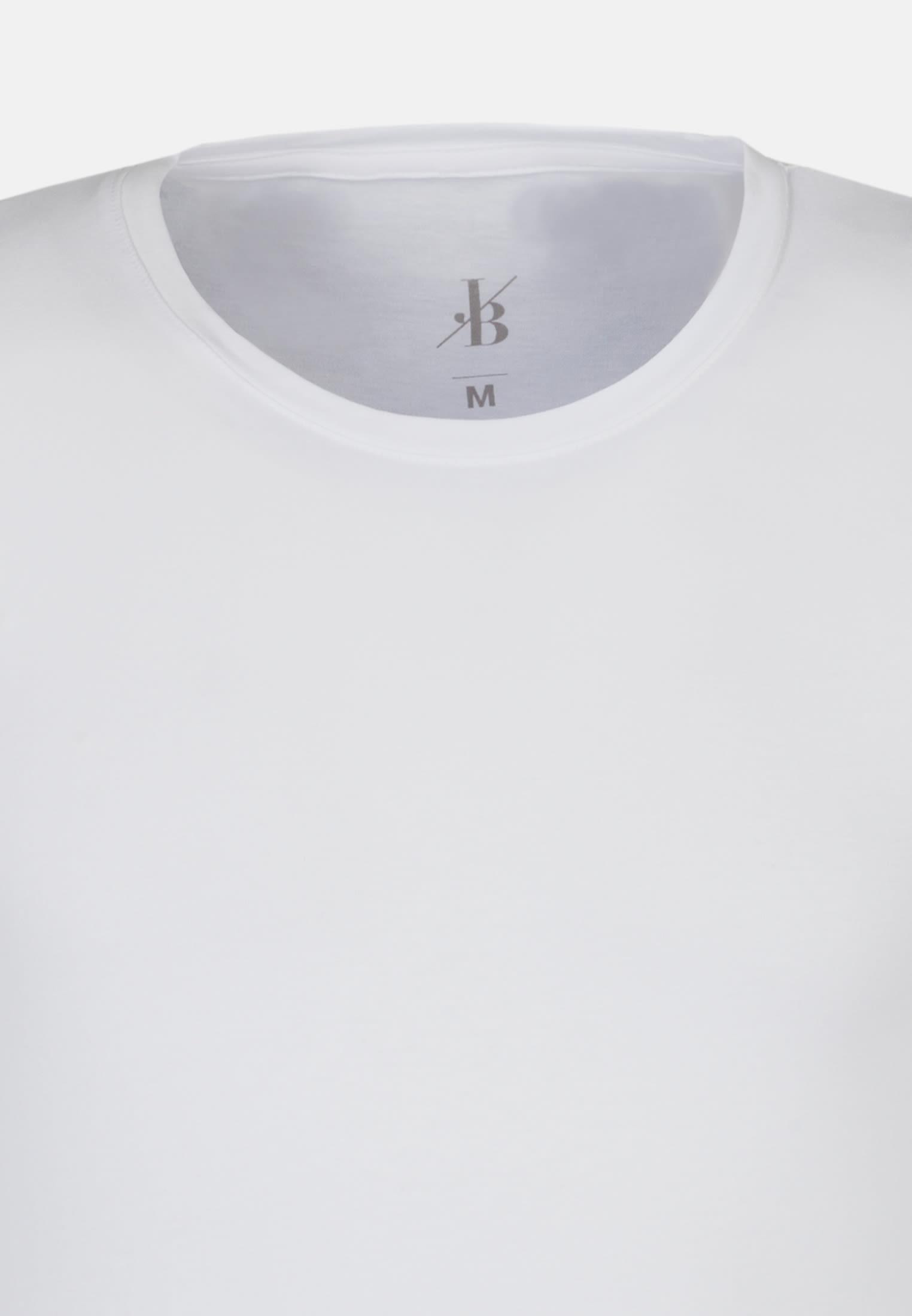 Rundhals T-Shirt aus 95% Baumwolle 5% Elastan in Weiß |  Jacques Britt Onlineshop
