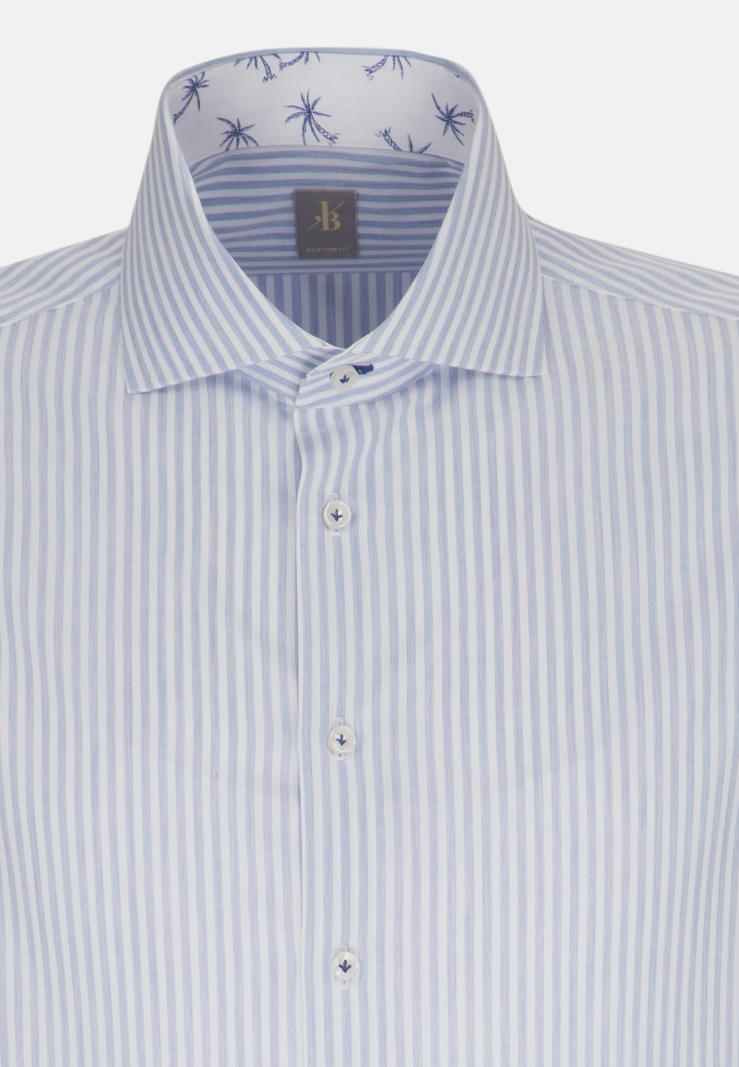 Popeline Smart Casual Hemd in Custom Fit mit Haifischkragen in Hellblau |  Jacques Britt Onlineshop