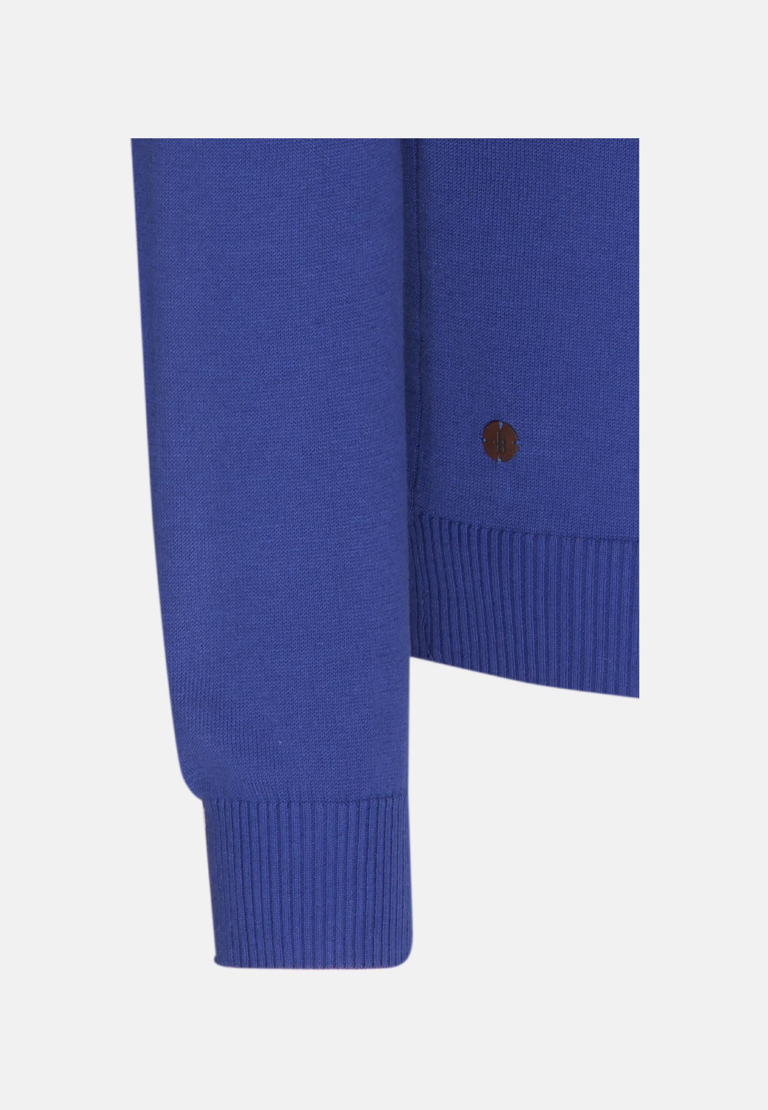 Rundhals Pullover aus in Mittelblau |  Jacques Britt Onlineshop