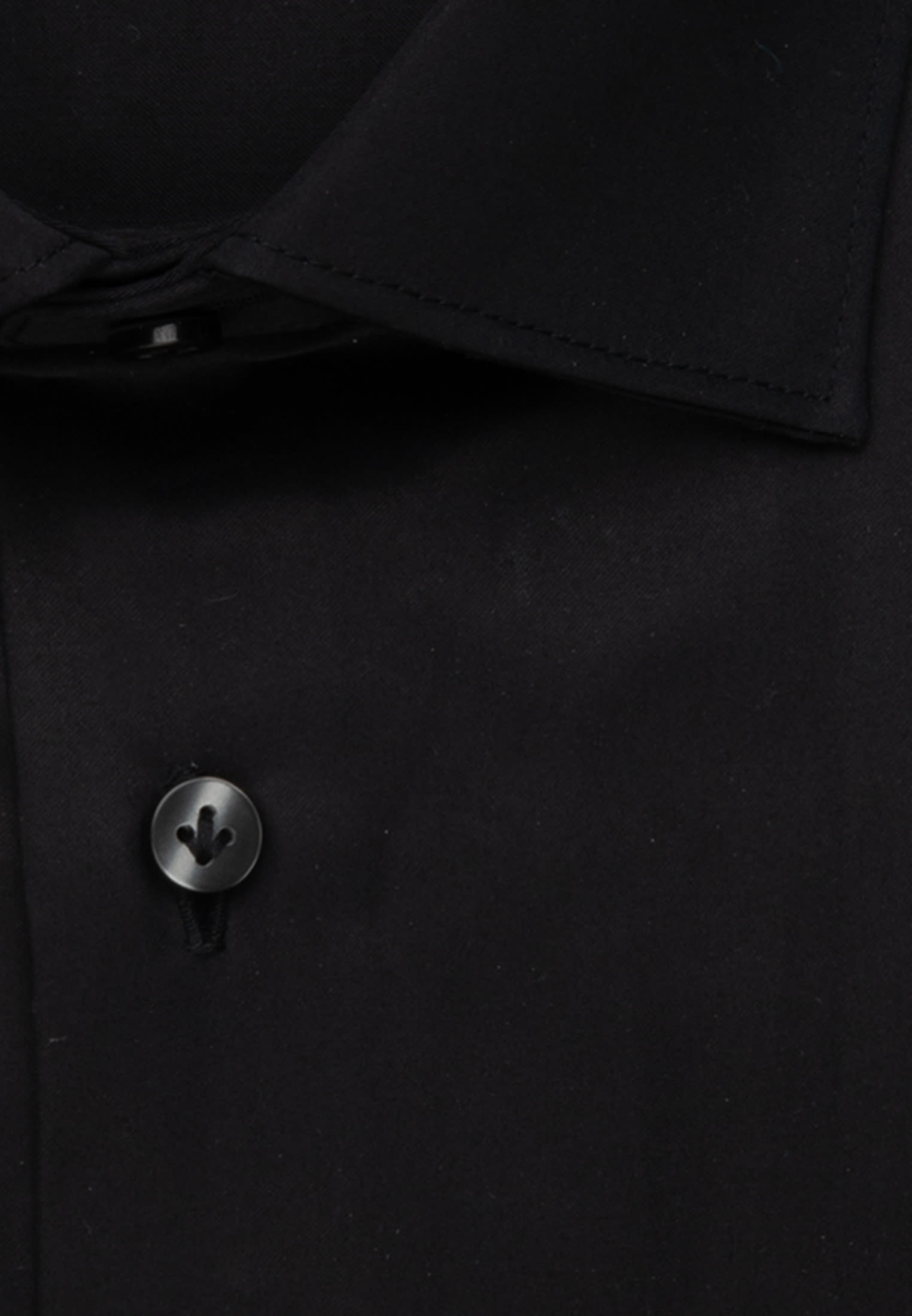 Satin Business Hemd in Custom Fit mit Kentkragen in Schwarz |  Jacques Britt Onlineshop