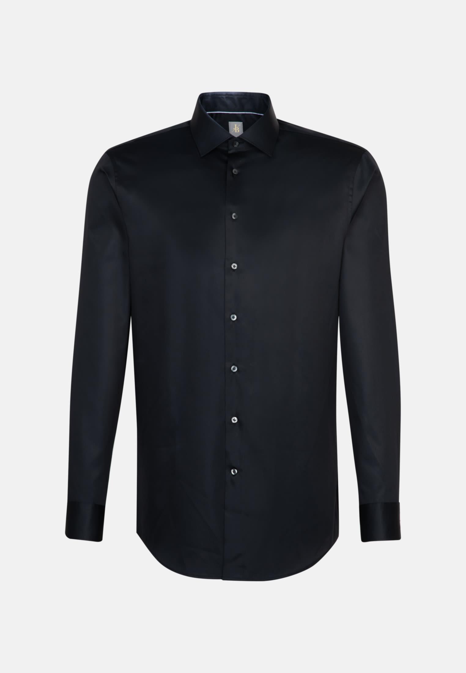 Satin Business Hemd in Custom Fit mit Kentkragen in Schwarz    Jacques Britt Onlineshop