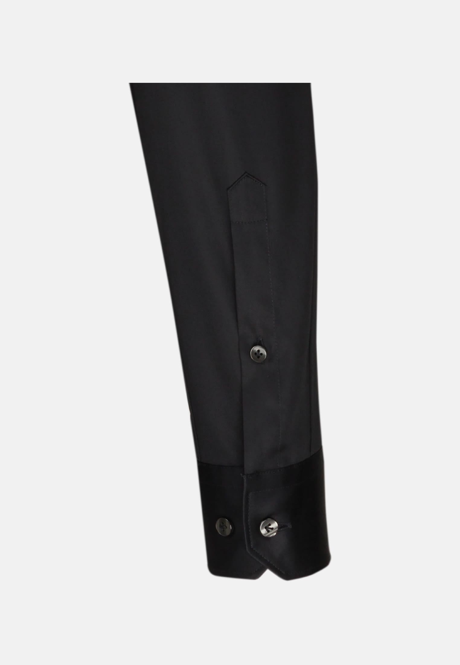 Satin Business Hemd in Custom Fit mit Kentkragen in Schwarz |  Jacques Britt Onlineshop
