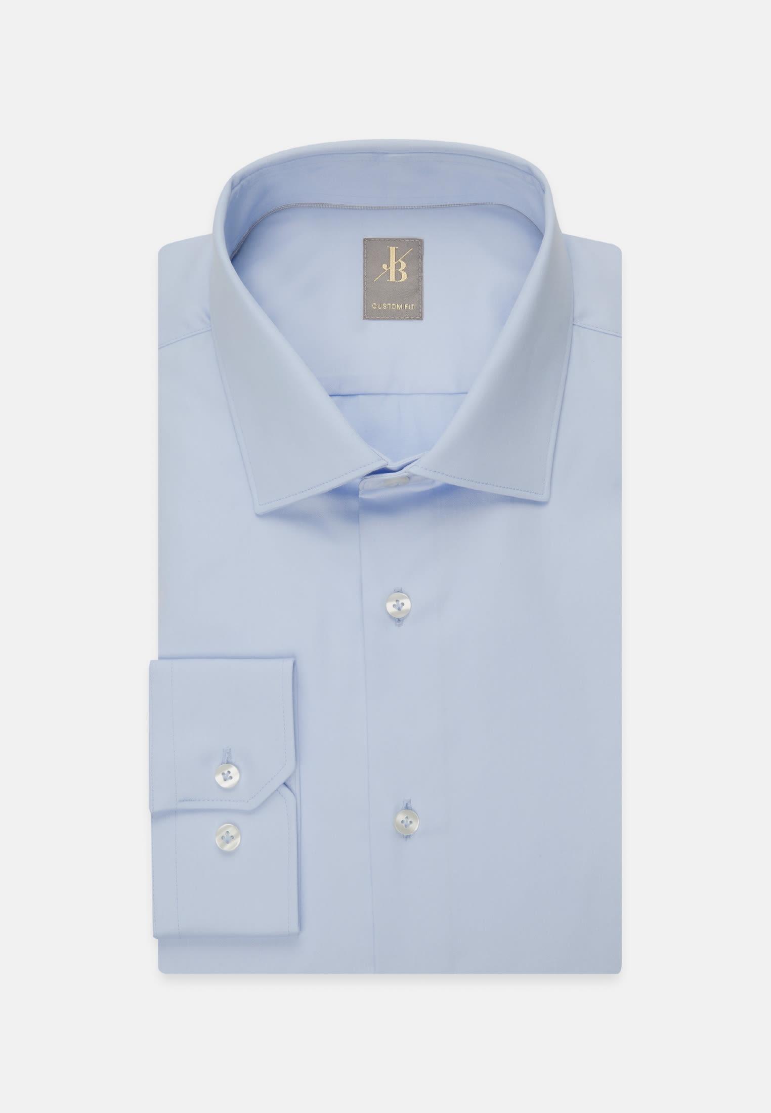 Satin Business Hemd in Custom Fit mit Kentkragen in Hellblau    Jacques Britt Onlineshop