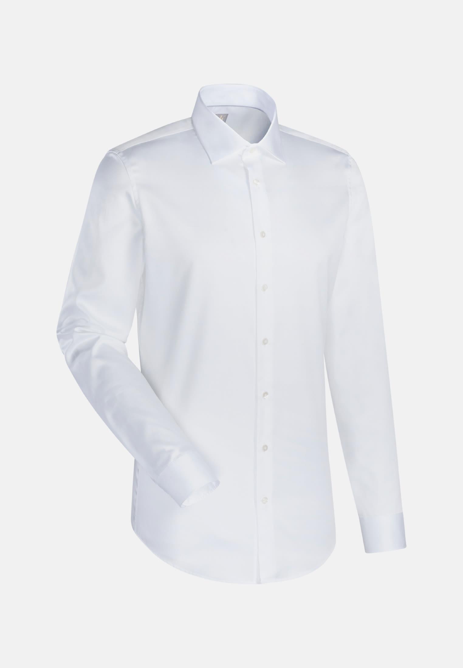 Satin Business Hemd in Custom Fit mit Kentkragen und extra langem Arm in Weiß    Jacques Britt Onlineshop