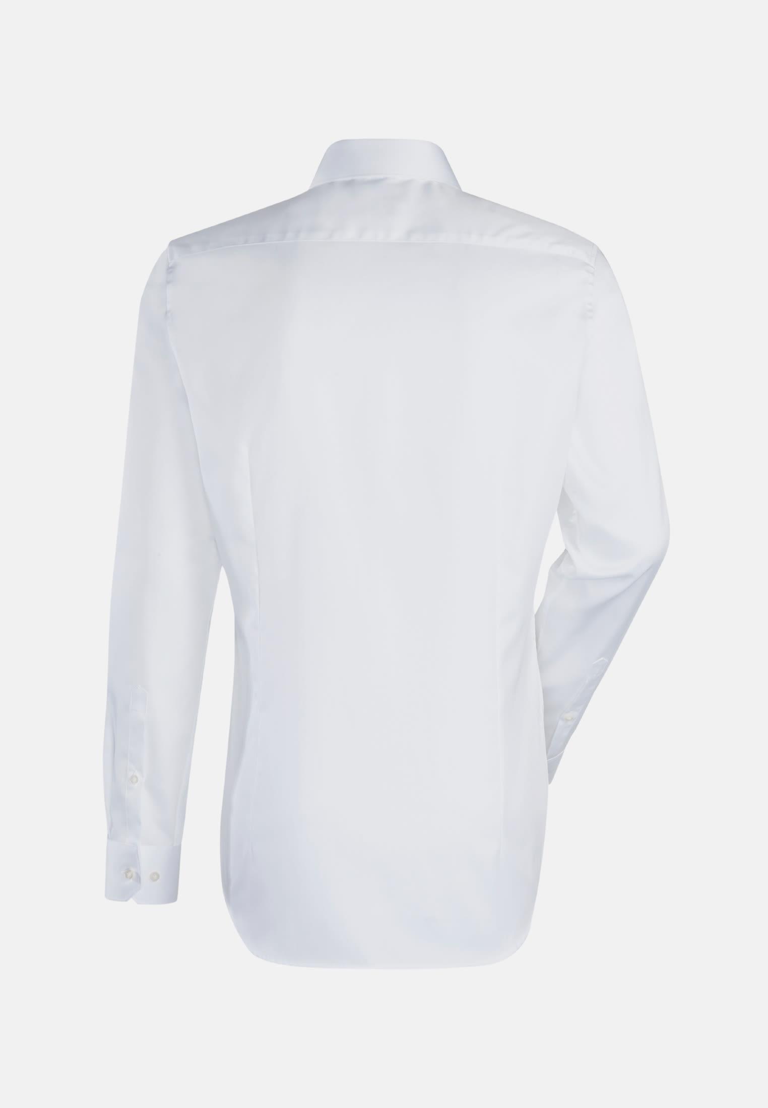 Satin Business Hemd in Custom Fit mit Kentkragen und extra langem Arm in Weiß |  Jacques Britt Onlineshop