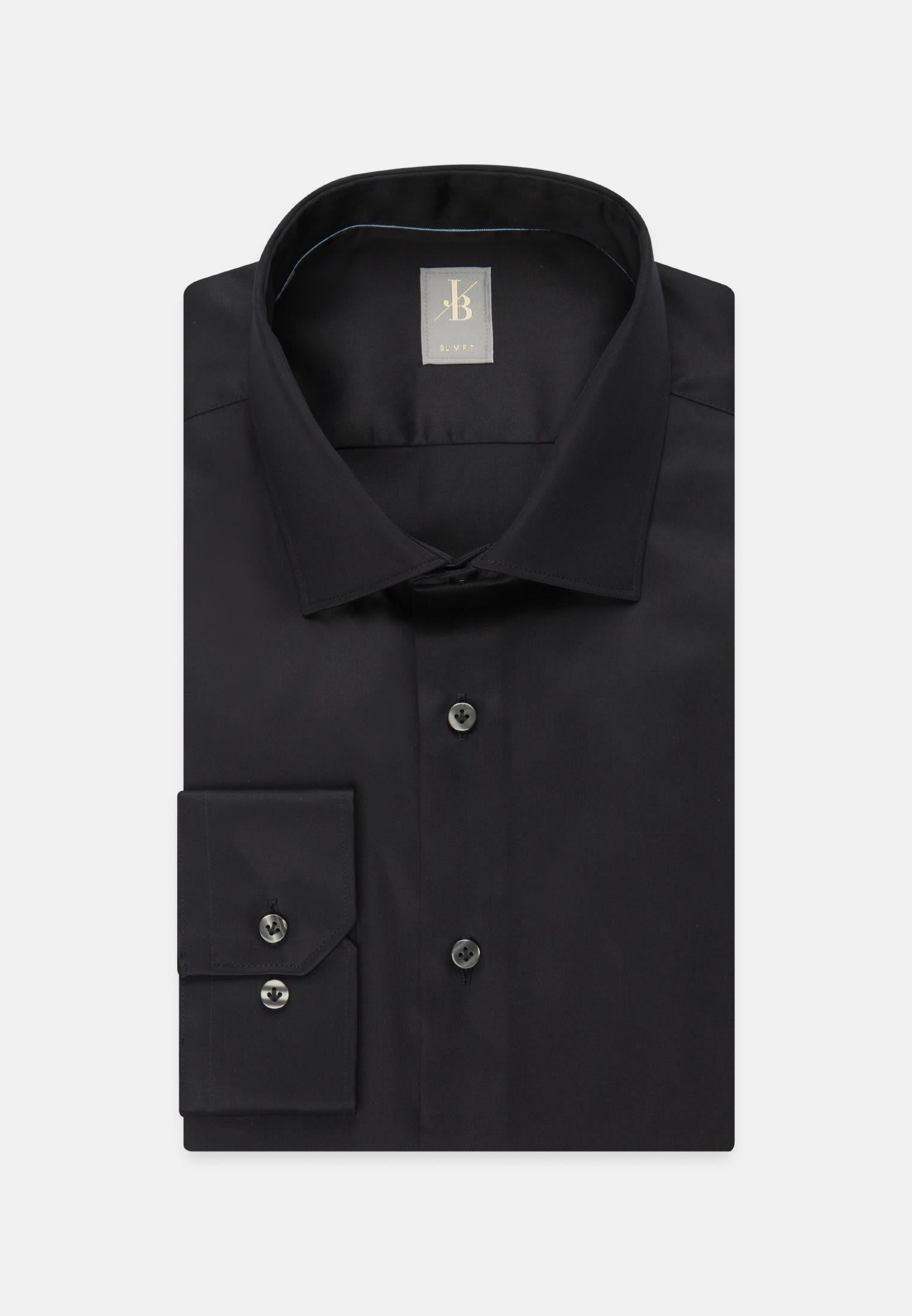 Satin Business Hemd in Slim Fit mit Kentkragen in Schwarz |  Jacques Britt Onlineshop