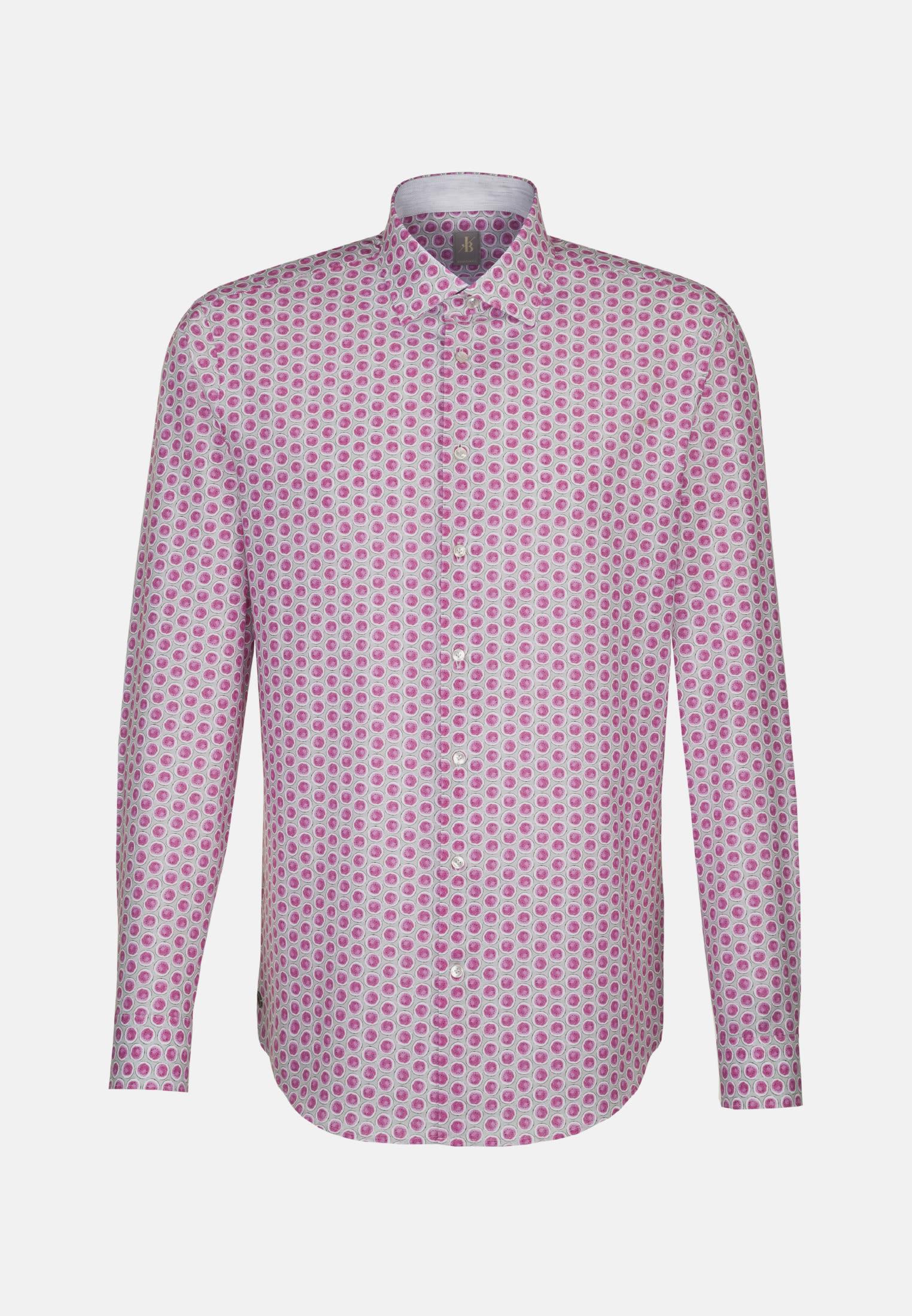 Popeline Smart Casual Hemd in Custom Fit mit Kentkragen in Rosa/Pink |  Jacques Britt Onlineshop