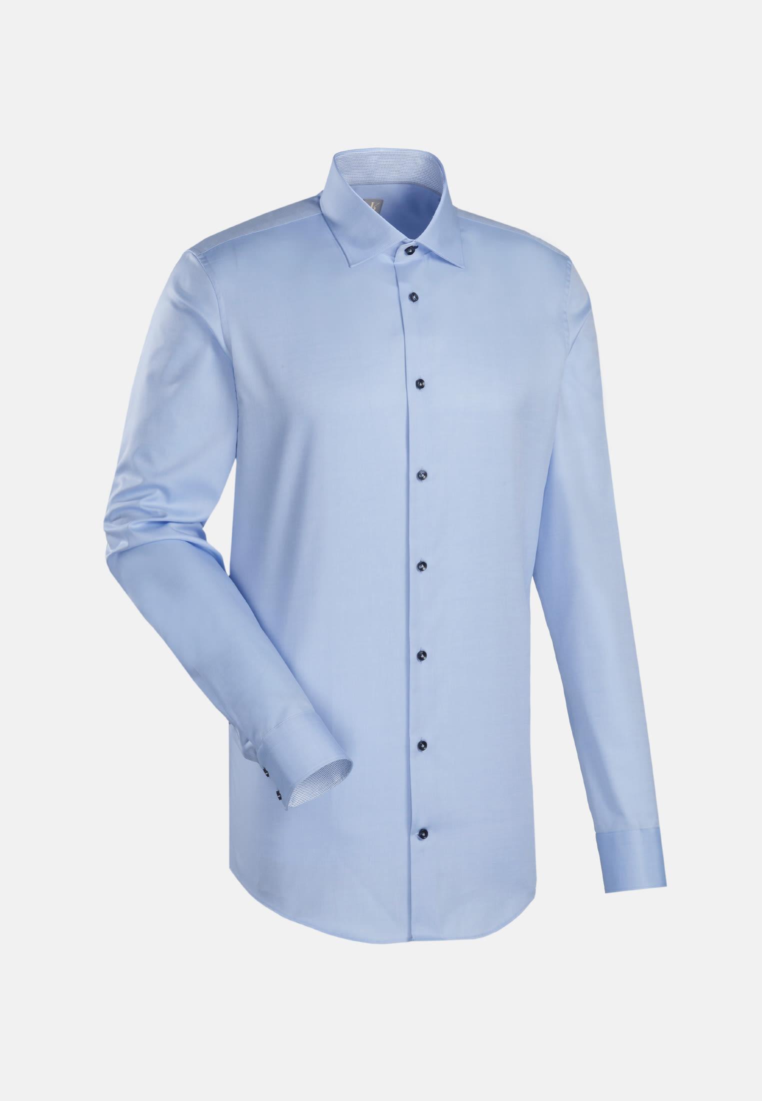 Twill Business Hemd in Slim Fit mit Kentkragen und extra langem Arm in Hellblau |  Jacques Britt Onlineshop