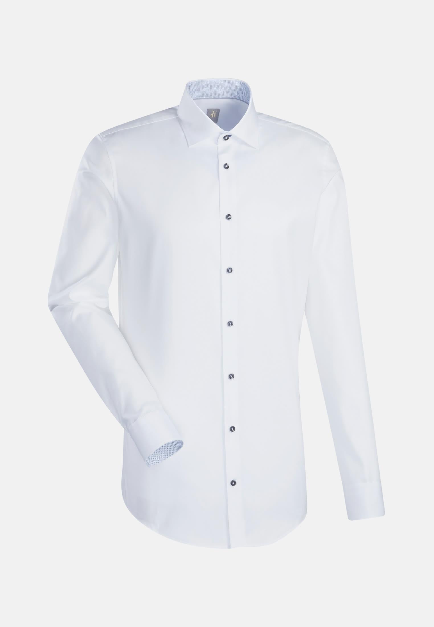 Twill Business Hemd in Slim Fit mit Kentkragen und extra langem Arm in Weiß    Jacques Britt Onlineshop