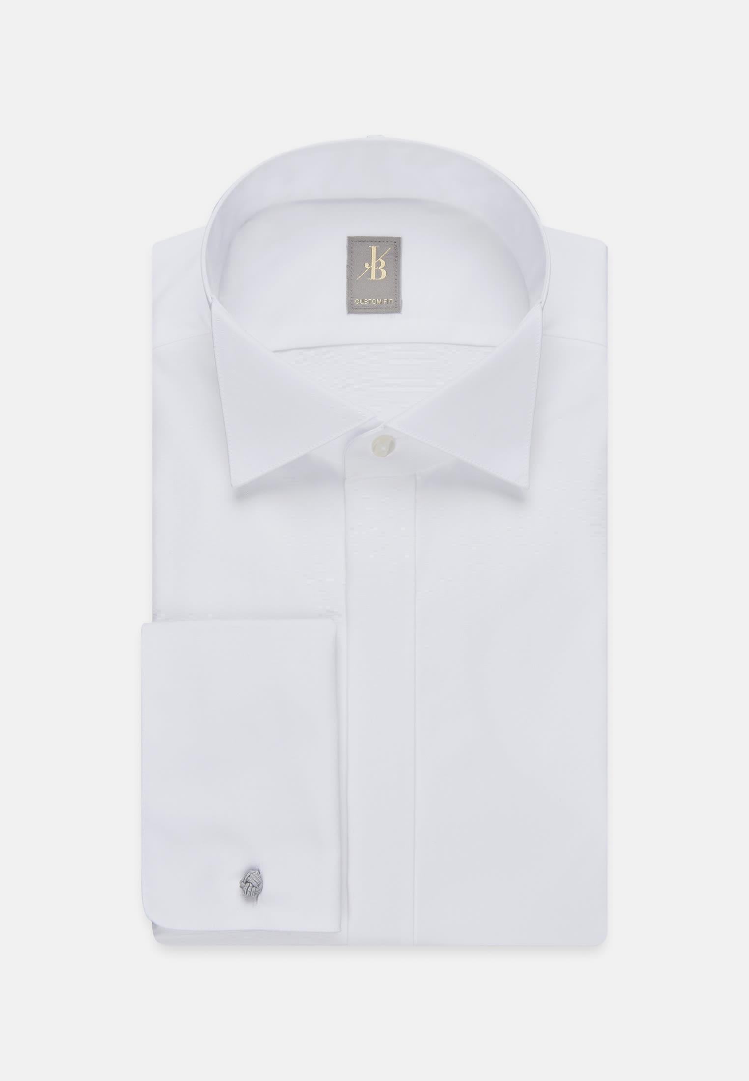 Popeline Smokinghemd in Custom Fit mit Kläppchenkragen in Weiß |  Jacques Britt Onlineshop