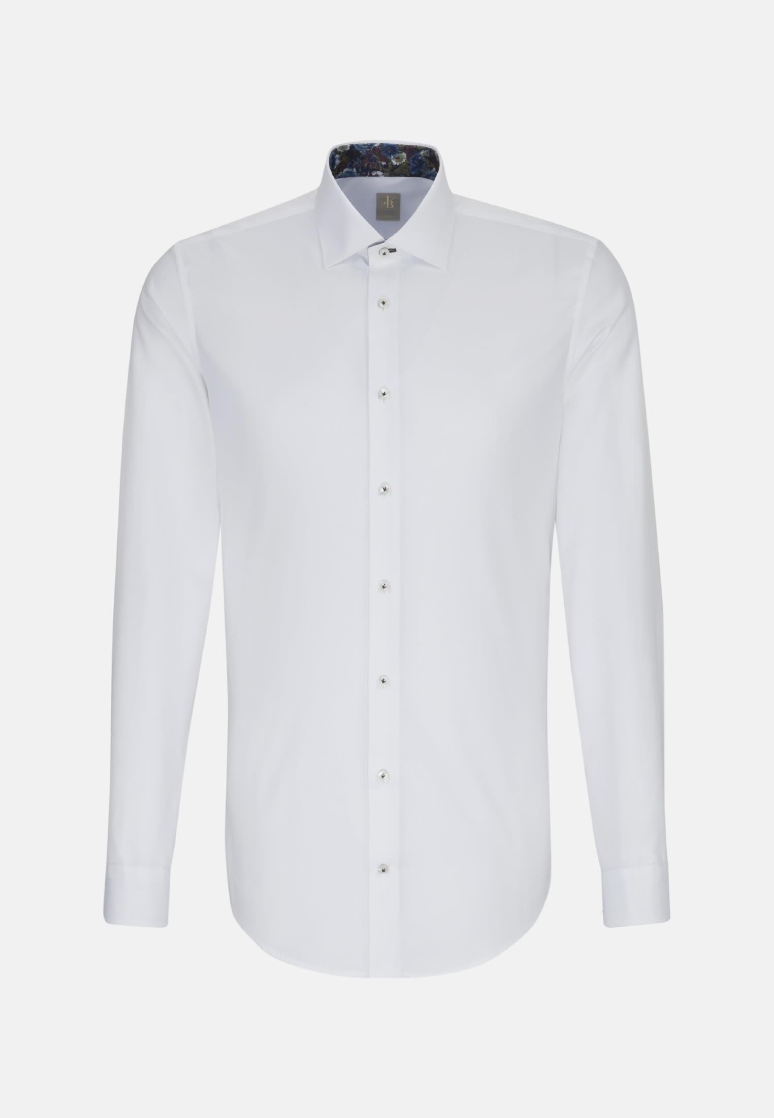 Twill Business Hemd in Custom Fit mit Kentkragen und extra langem Arm in Weiß    Jacques Britt Onlineshop