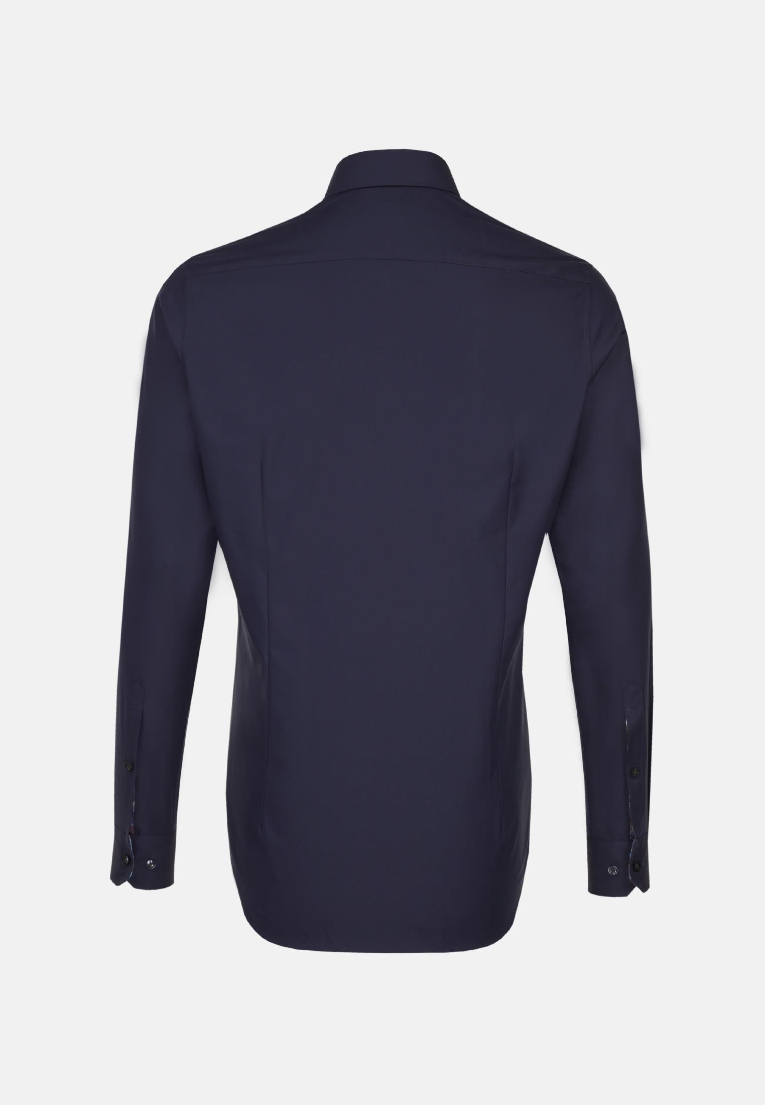 Twill Business Hemd in Custom Fit mit Kentkragen und extra langem Arm in Dunkelblau |  Jacques Britt Onlineshop