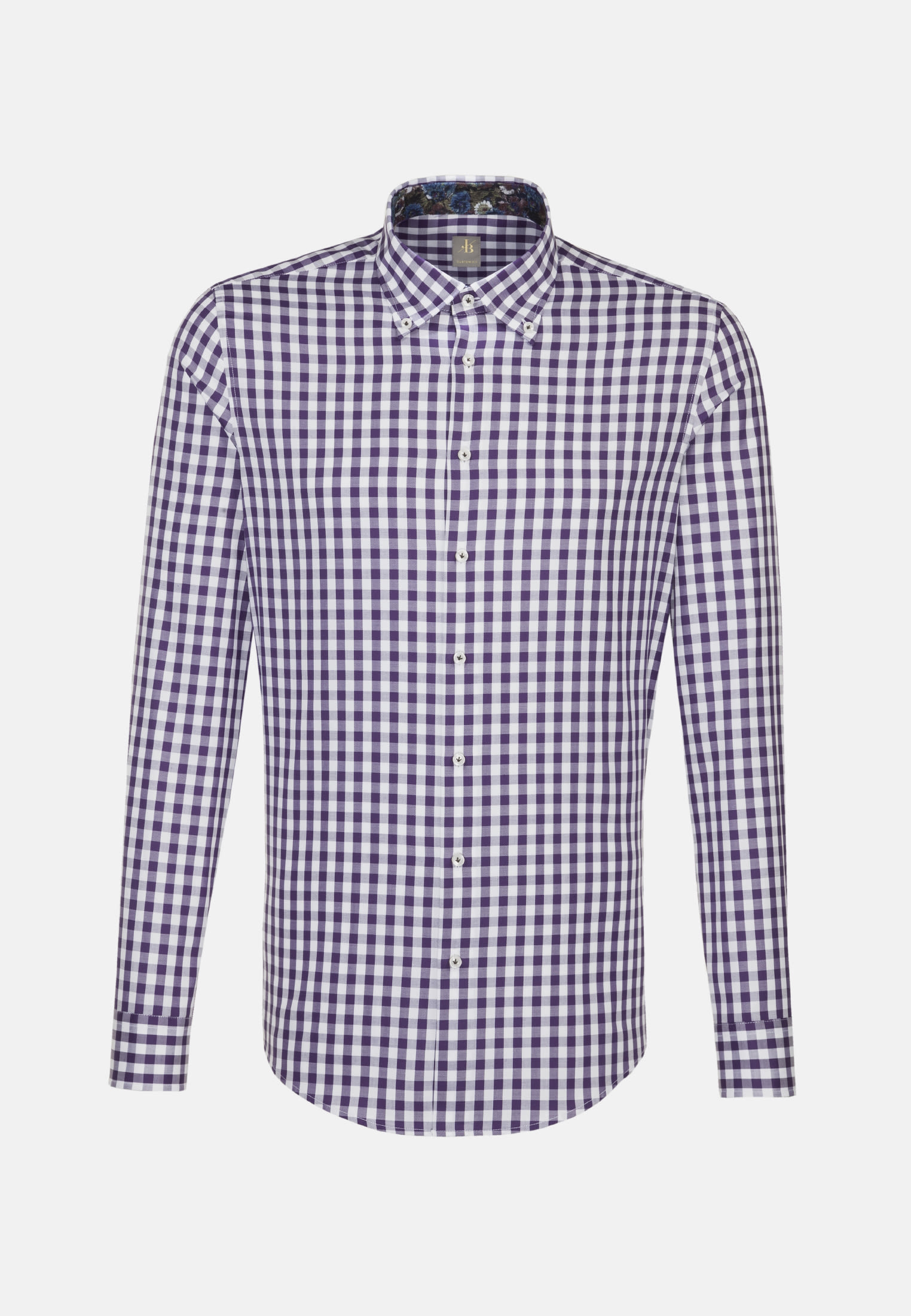 Twill Business Hemd in Custom Fit mit Button-Down-Kragen in Lila |  Jacques Britt Onlineshop
