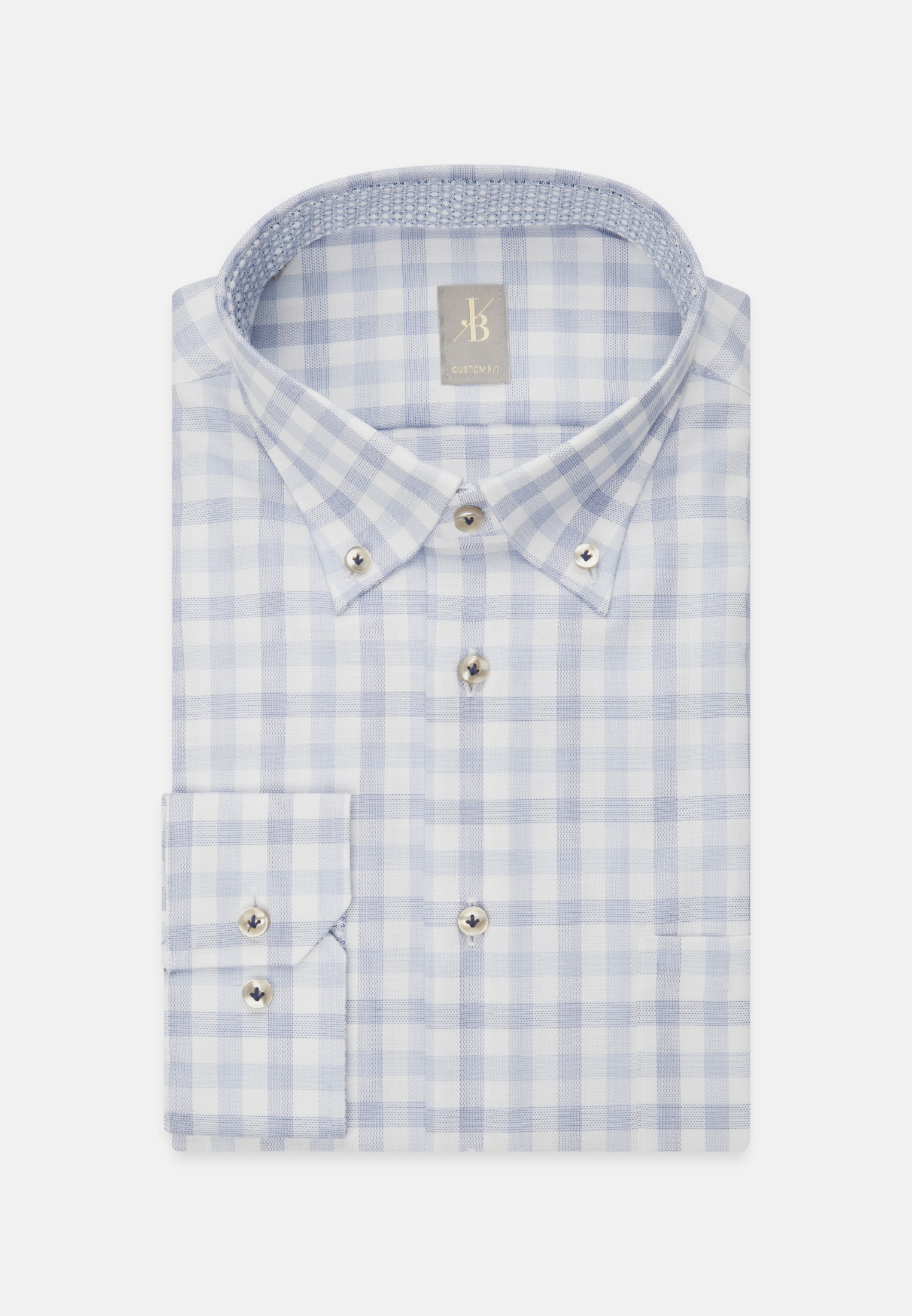 Oxford Business Hemd in Custom Fit mit Button-Down-Kragen und extra langem Arm in Mittelblau |  Jacques Britt Onlineshop