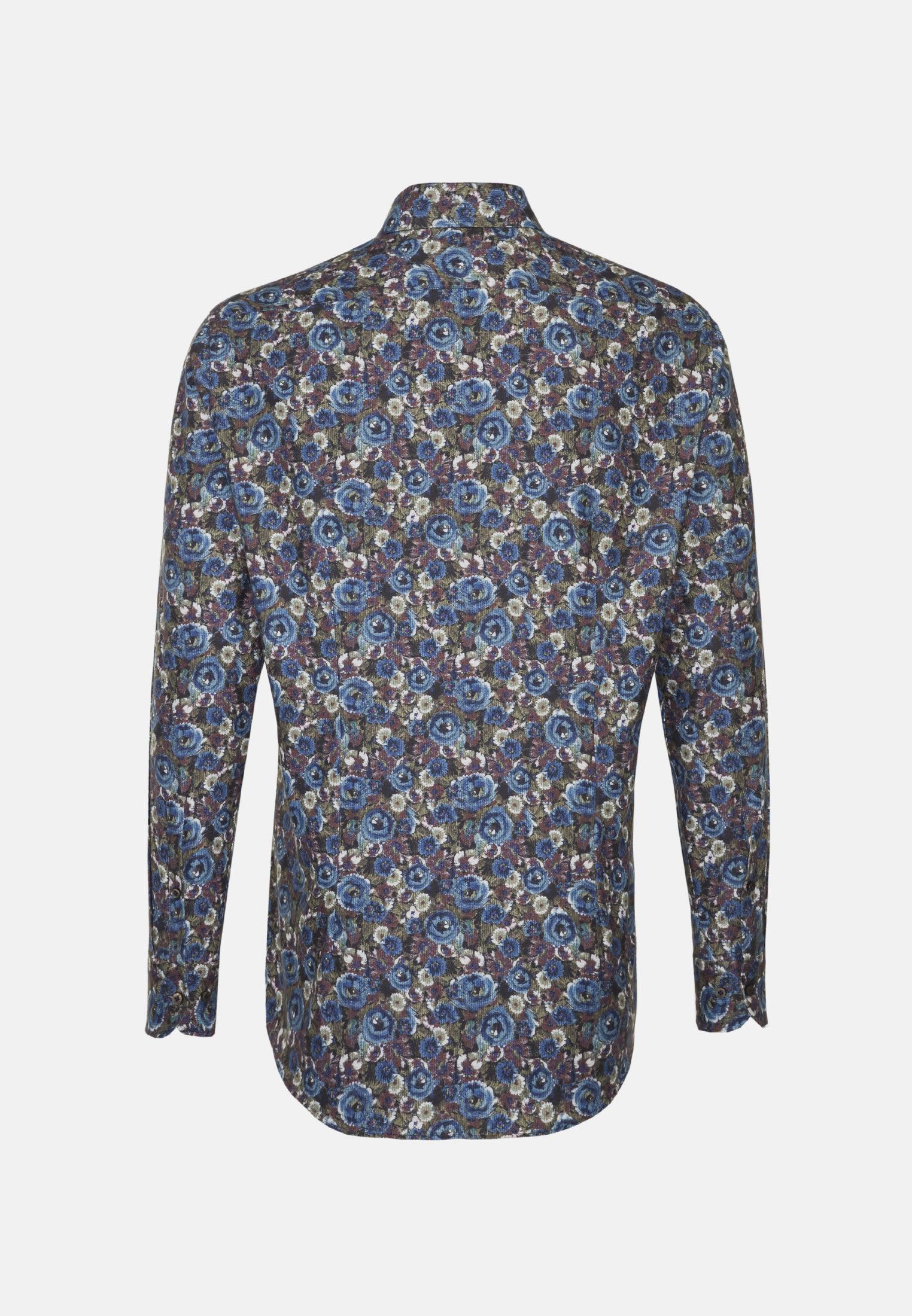 Flanell Business Hemd in Custom Fit mit Haifischkragen in Mittelblau |  Jacques Britt Onlineshop