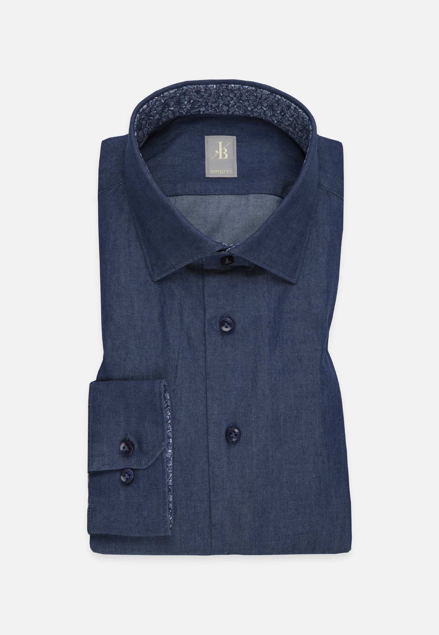 Denim Smart Casual Hemd in Perfect Fit mit Kentkragen in Dunkelblau |  Jacques Britt Onlineshop