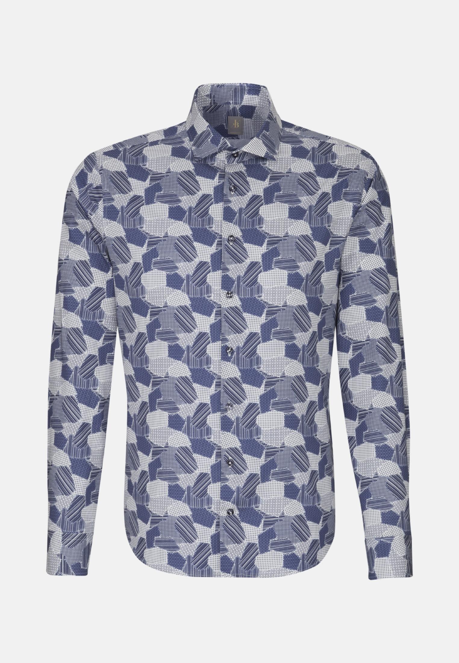 Twill Smart Casual Hemd in Perfect Fit mit Haifischkragen in Mittelblau    Jacques Britt Onlineshop