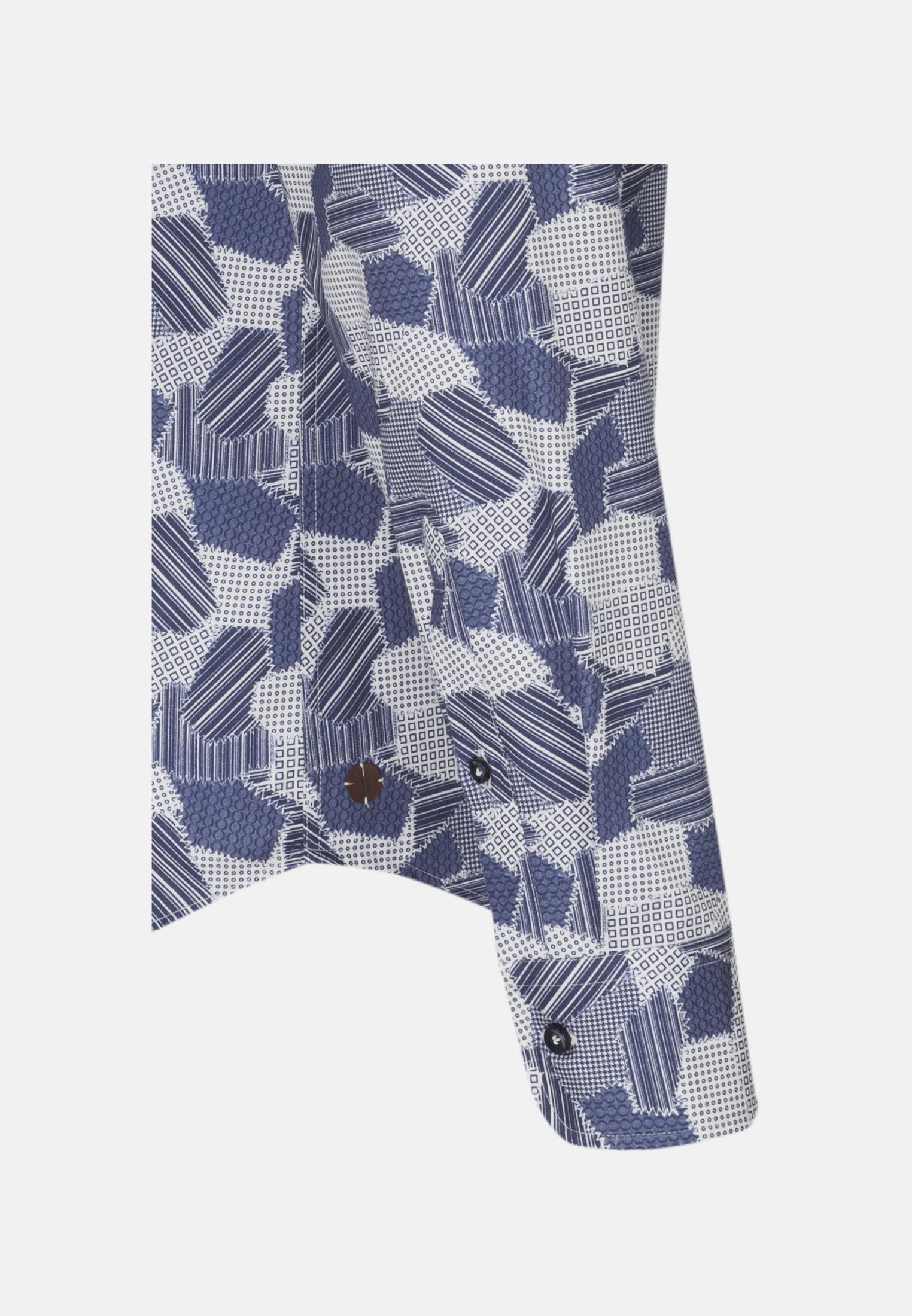 Twill Smart Casual Hemd in Perfect Fit mit Haifischkragen in Mittelblau |  Jacques Britt Onlineshop