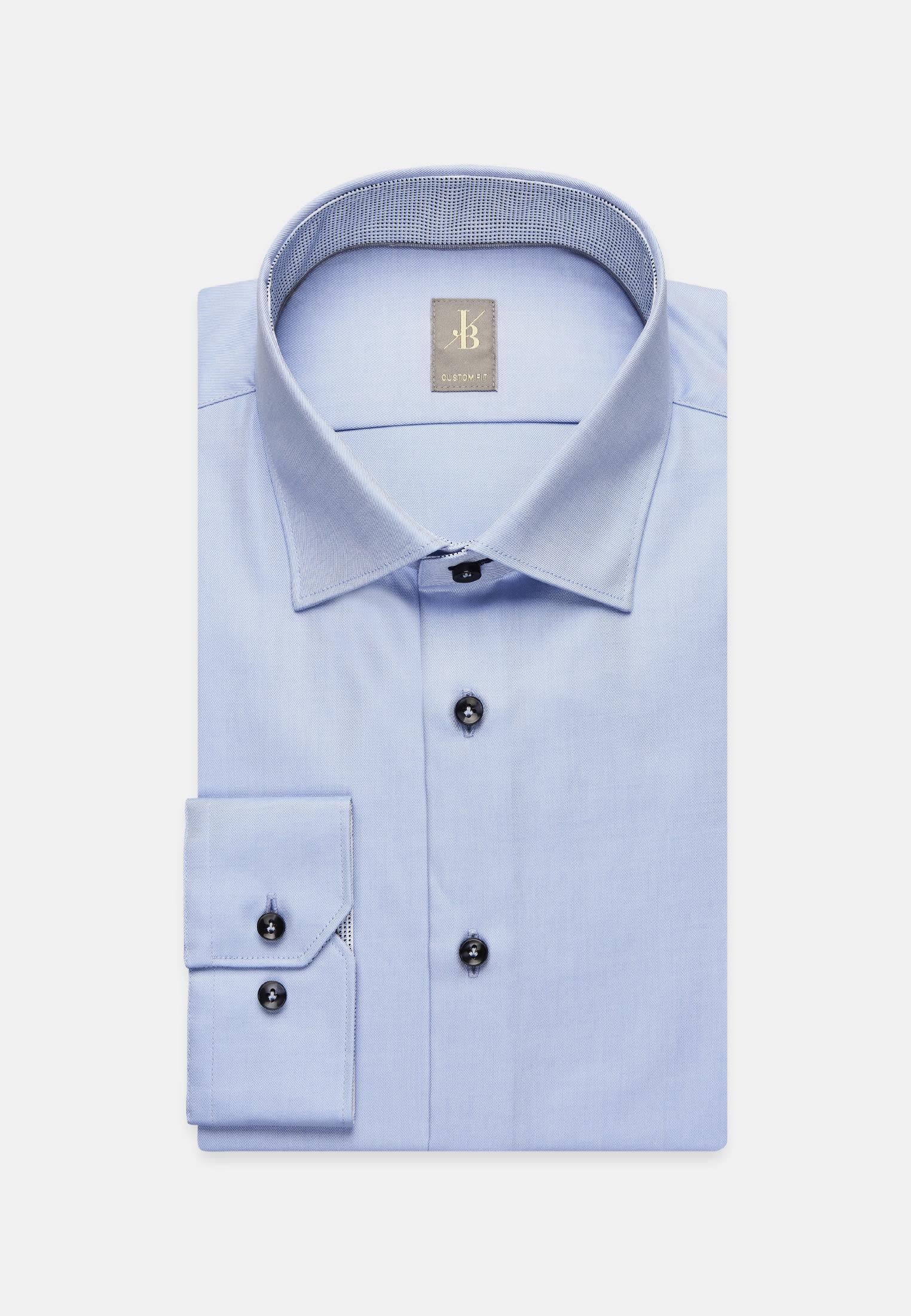Twill Business Hemd in Custom Fit mit Kentkragen in Hellblau |  Jacques Britt Onlineshop