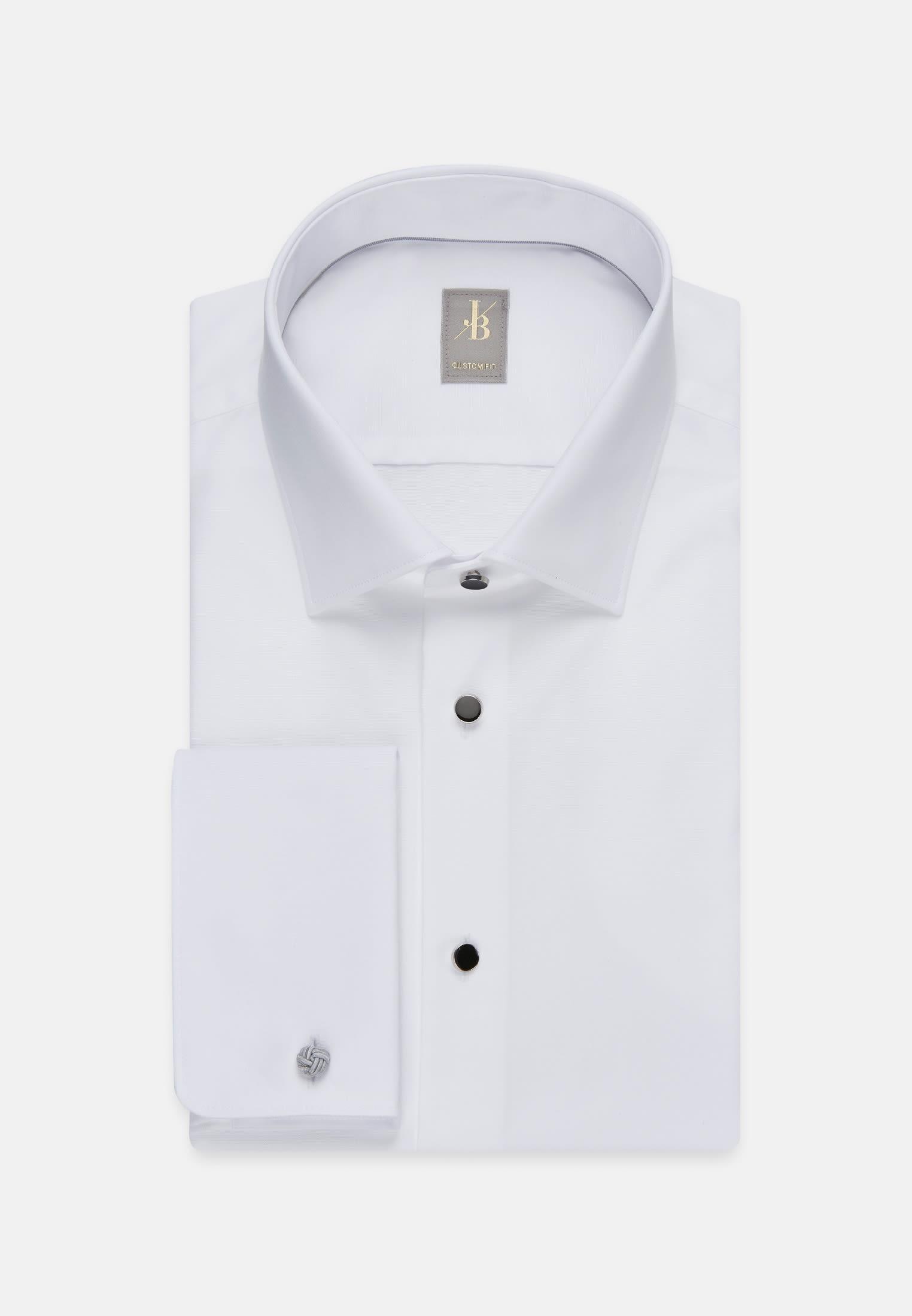 Popeline Smokinghemd in Custom Fit mit Kentkragen in Weiß    Jacques Britt Onlineshop
