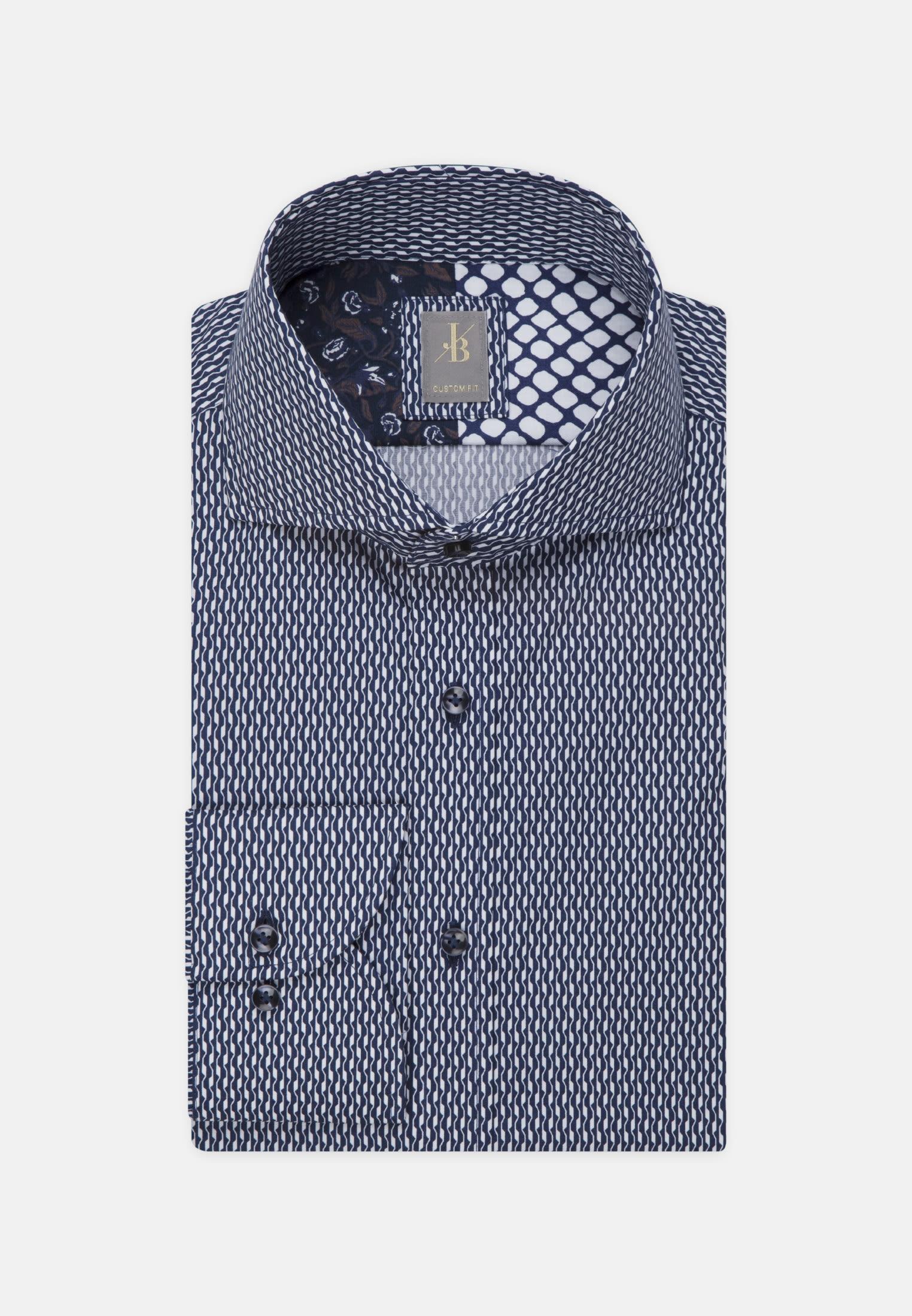 Popeline Business Hemd in Custom Fit mit Haifischkragen in Dunkelblau |  Jacques Britt Onlineshop