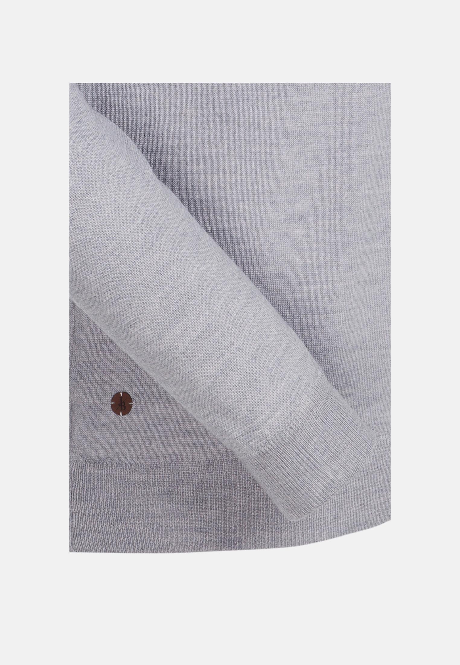 Rundhals Pullover aus 100% Merinowolle in Grau |  Jacques Britt Onlineshop