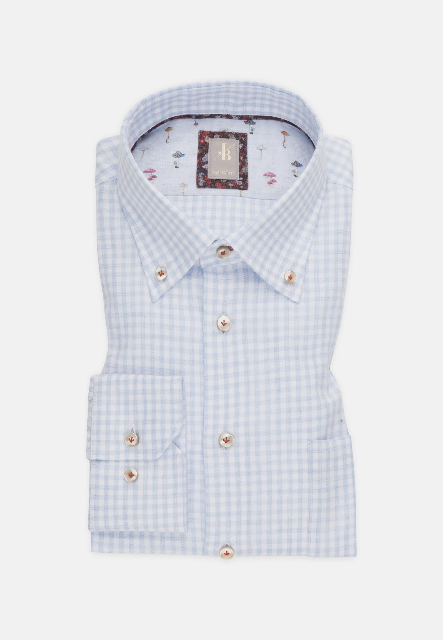 Melange Garne Smart Casual Hemd in Perfect Fit mit Button-Down-Kragen in Hellblau |  Jacques Britt Onlineshop