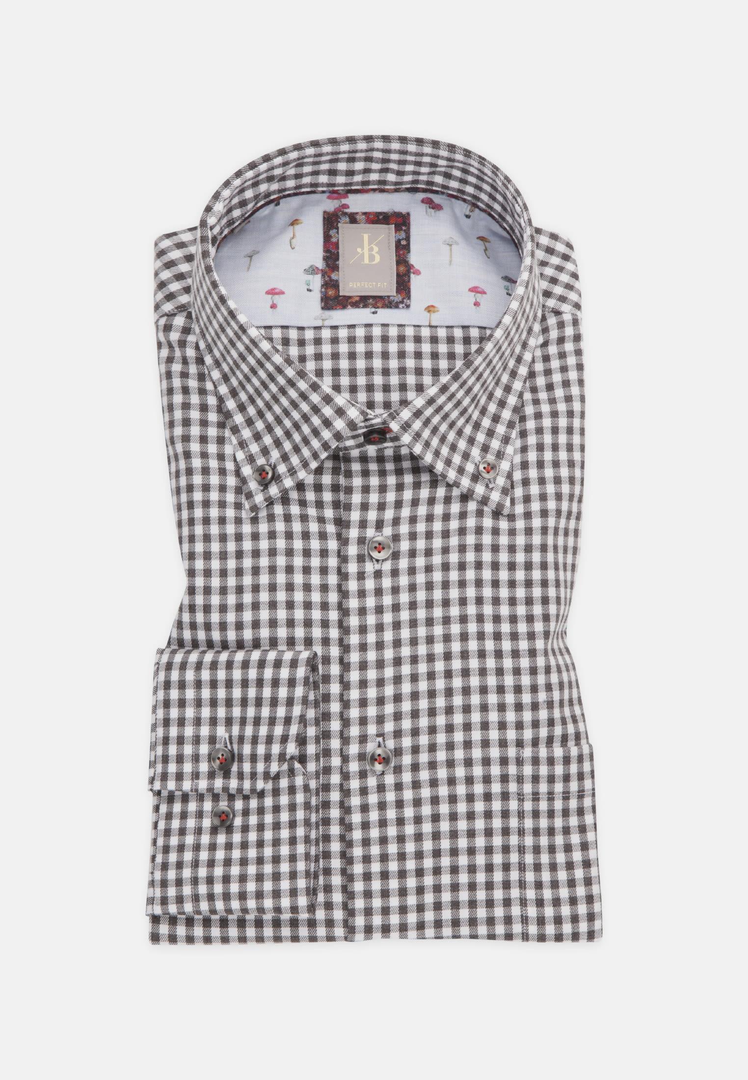Melange Garne Smart Casual Hemd in Perfect Fit mit Button-Down-Kragen in Grau |  Jacques Britt Onlineshop