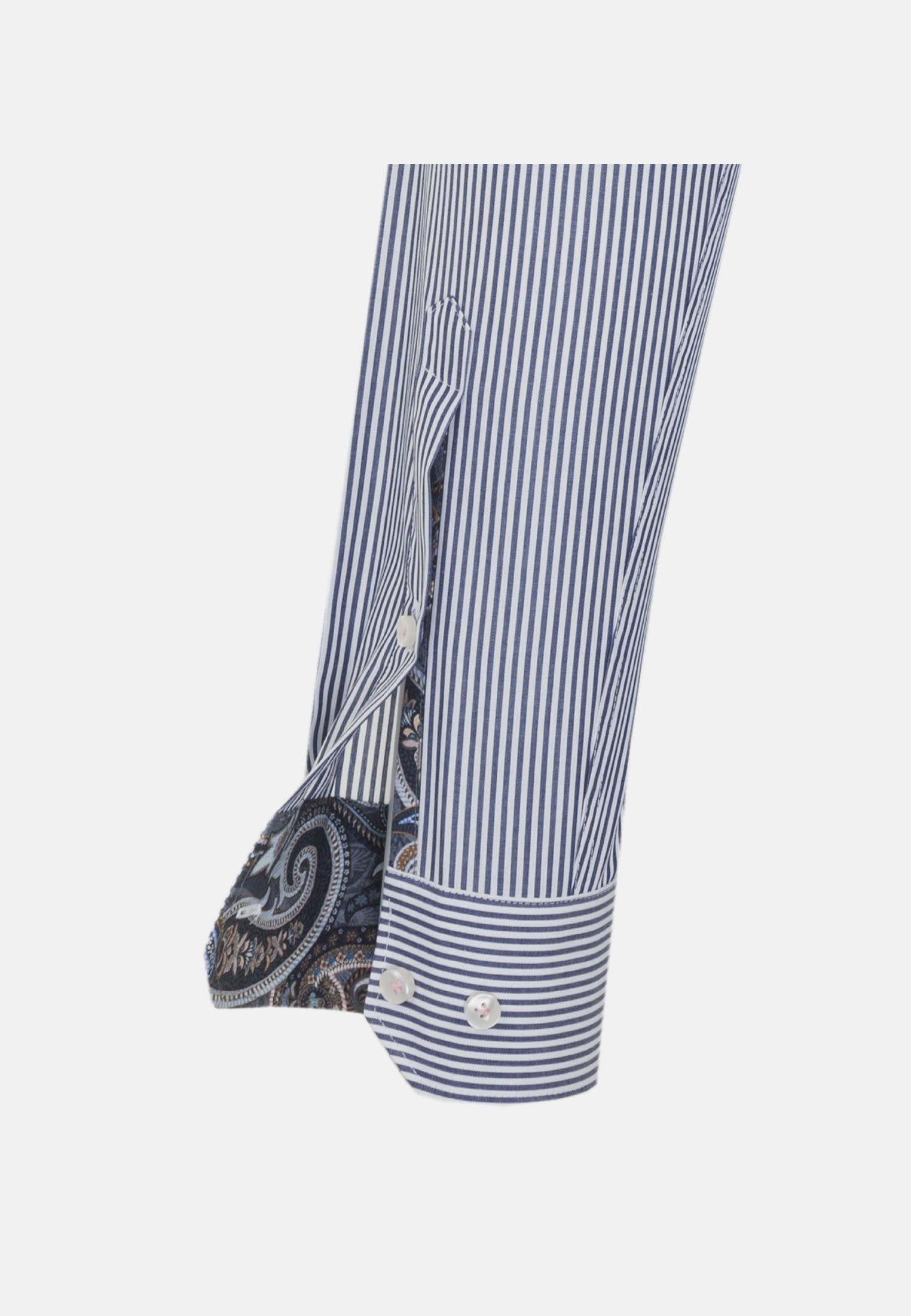 Popeline Business Hemd in Custom Fit mit Kentkragen in Dunkelblau |  Jacques Britt Onlineshop