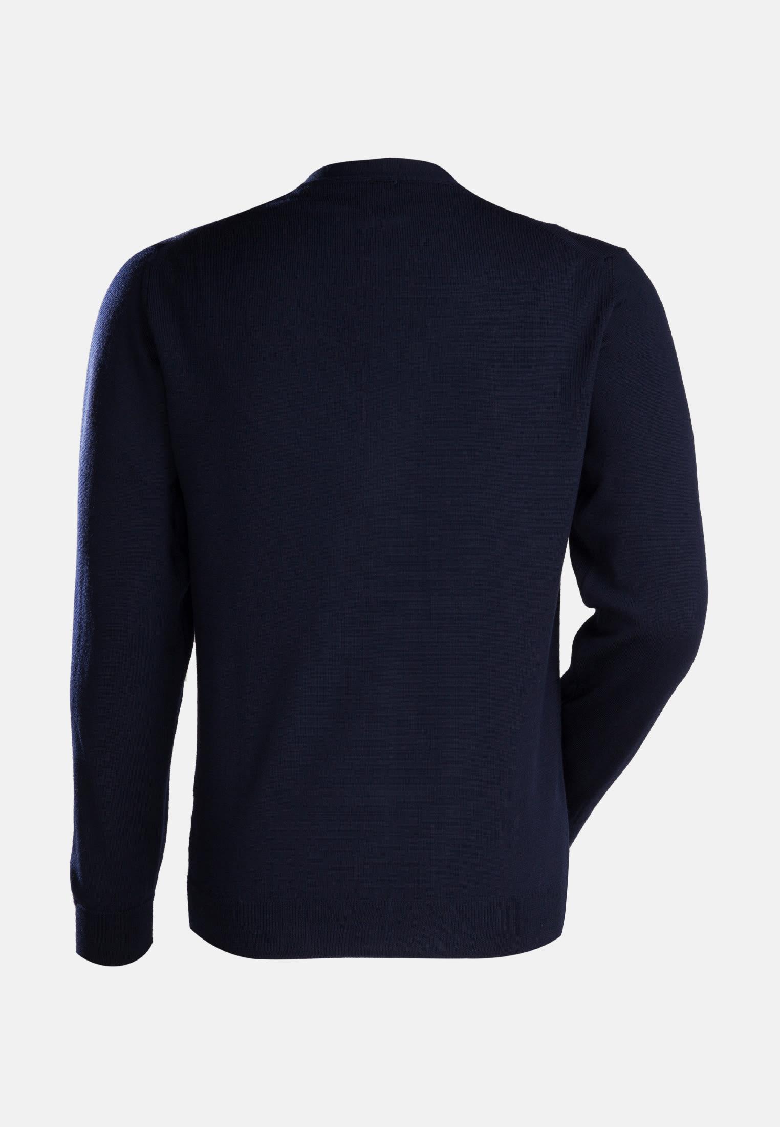 V-Neck Pullover aus 100% Merino-Wolle in Dunkelblau |  Jacques Britt Onlineshop