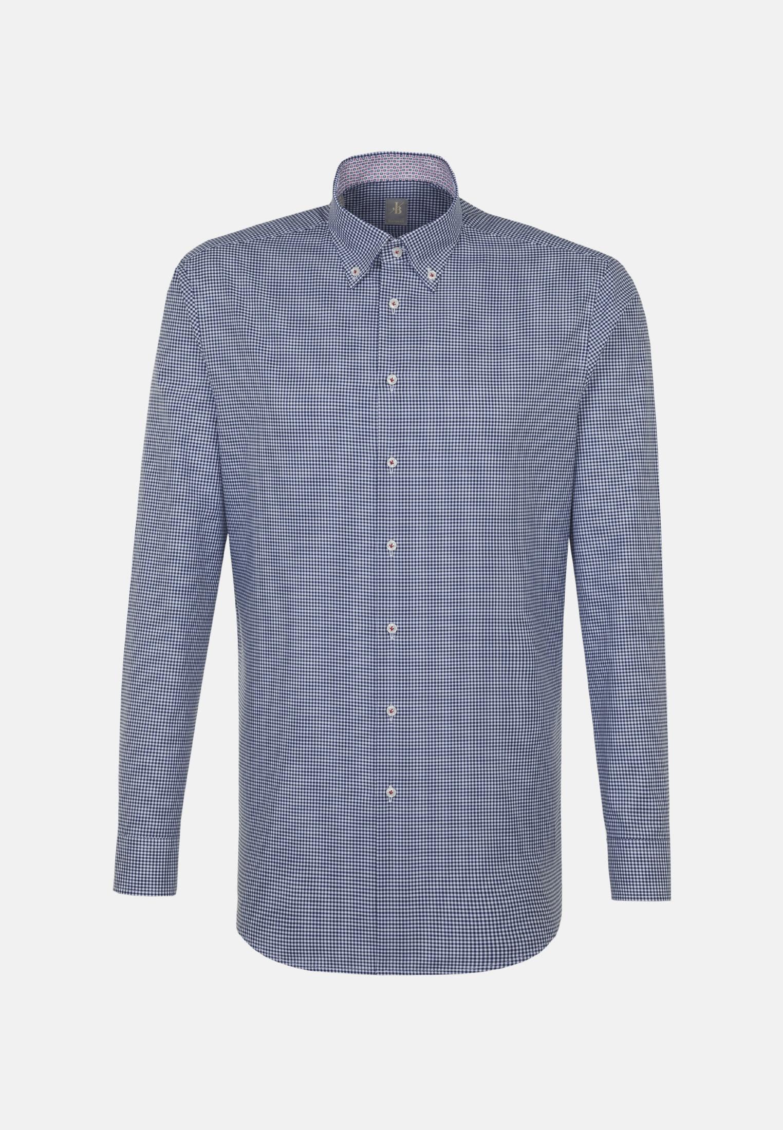 Twill Business Hemd in Custom Fit mit Button-Down-Kragen in Dunkelblau |  Jacques Britt Onlineshop