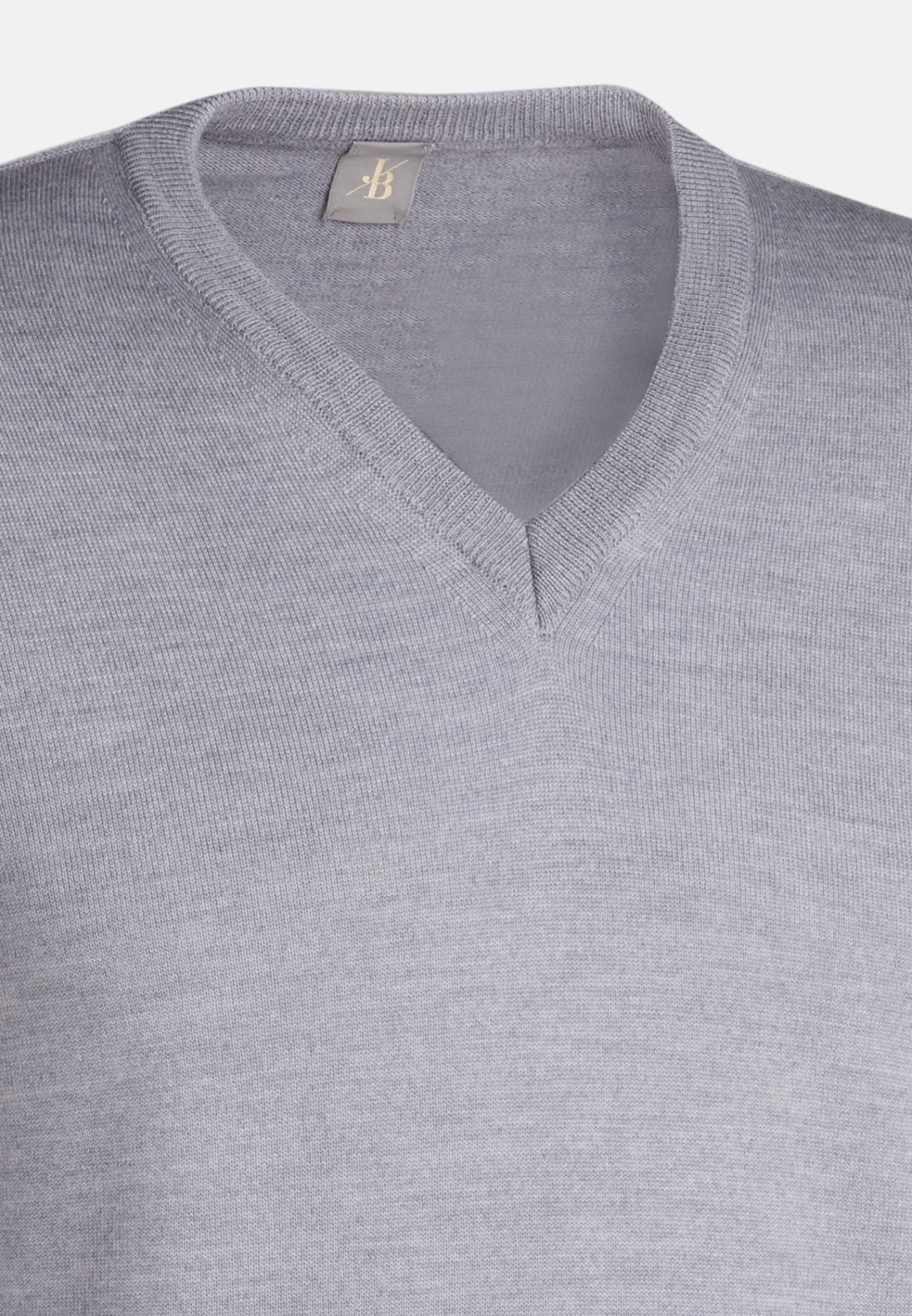 V-Neck Pullover aus 100% Merino-Wolle in Grau |  Jacques Britt Onlineshop