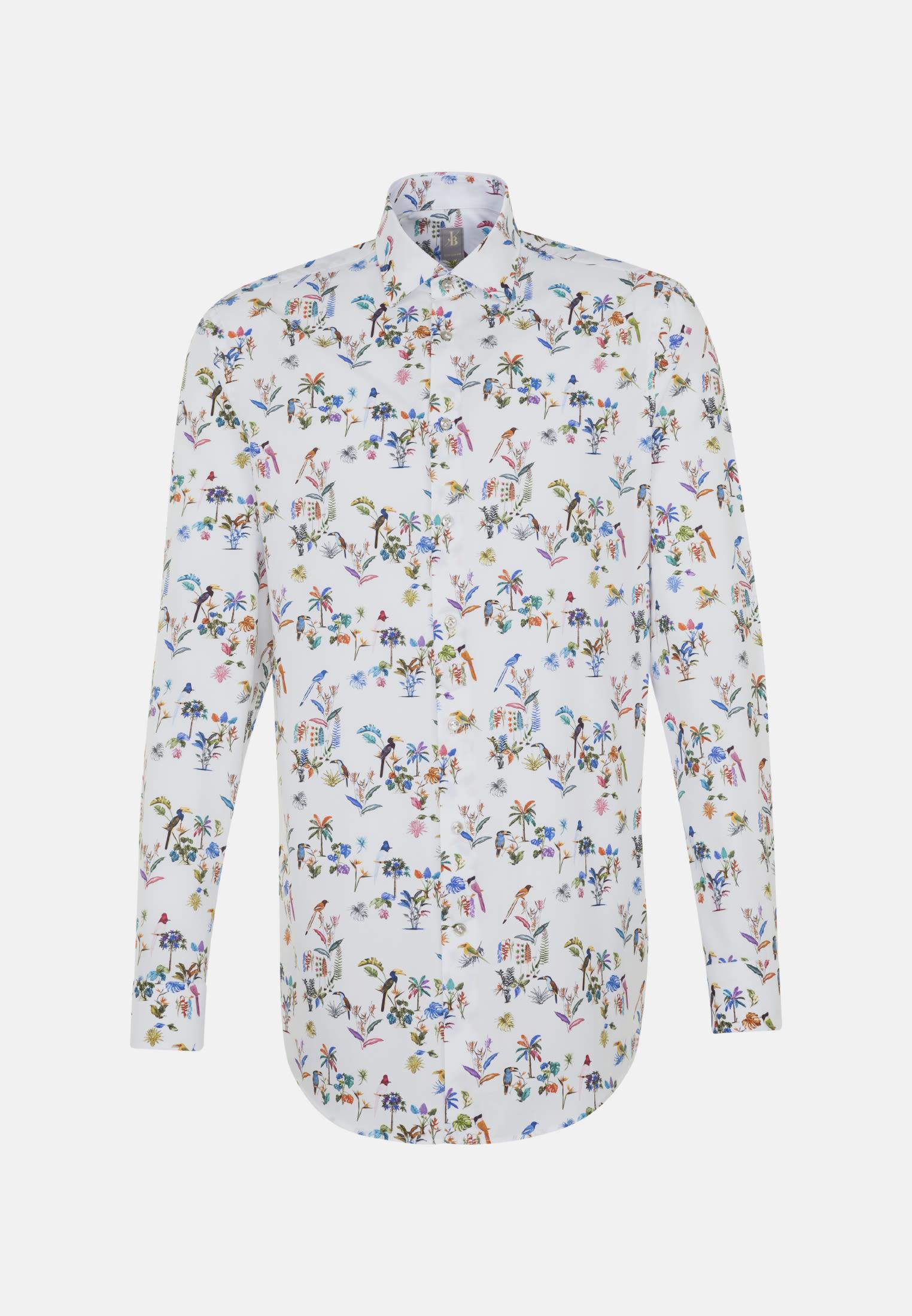Popeline Business Hemd in Custom Fit mit Kentkragen und extra langem Arm in Mittelblau |  Jacques Britt Onlineshop