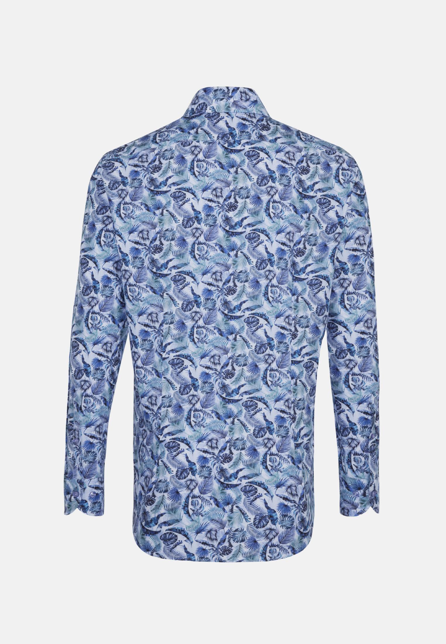 Popeline Business Hemd in Custom Fit mit Haifischkragen in Mittelblau |  Jacques Britt Onlineshop