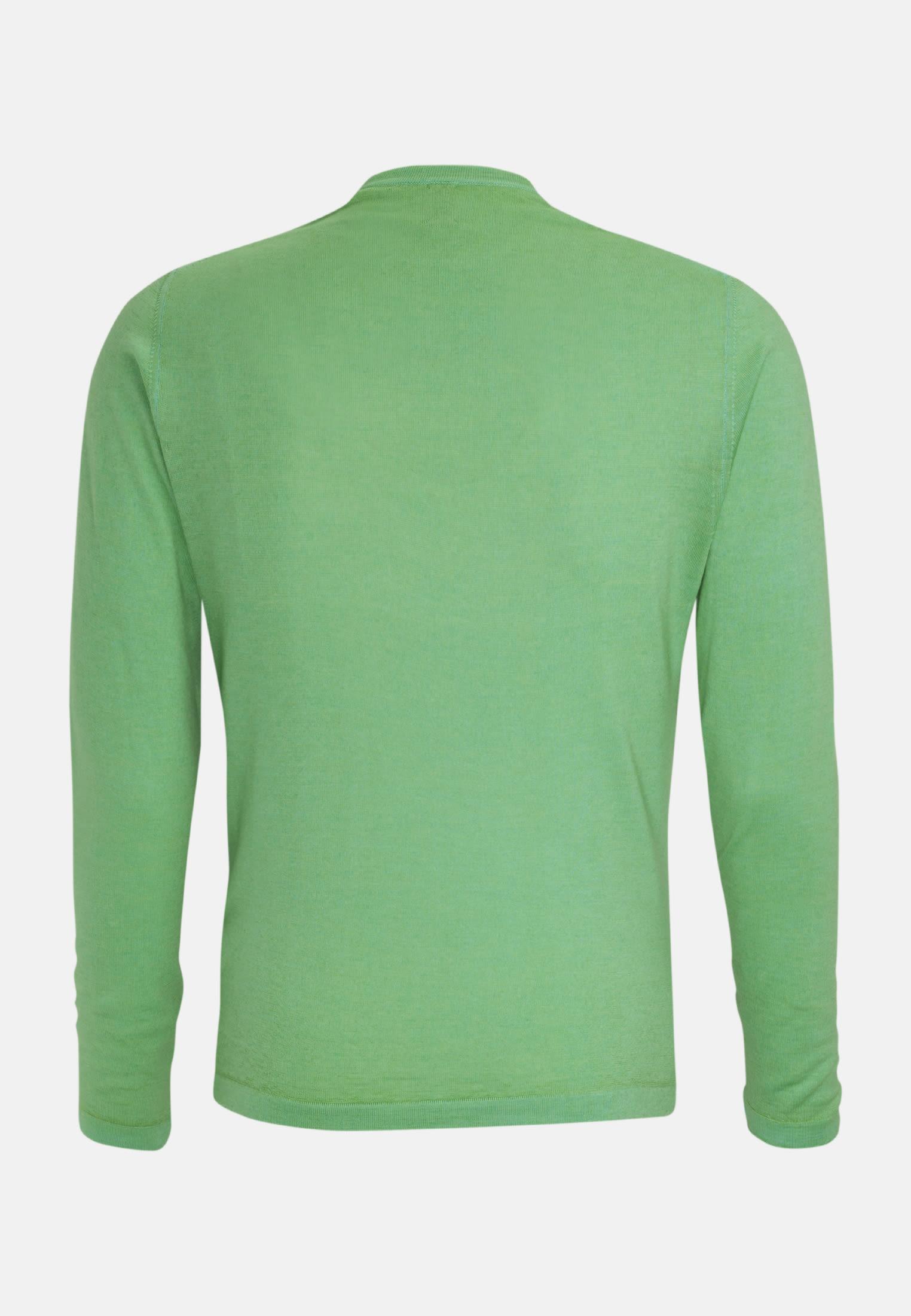 Rundhals Pullover aus 100% Merinowolle in Grün |  Jacques Britt Onlineshop