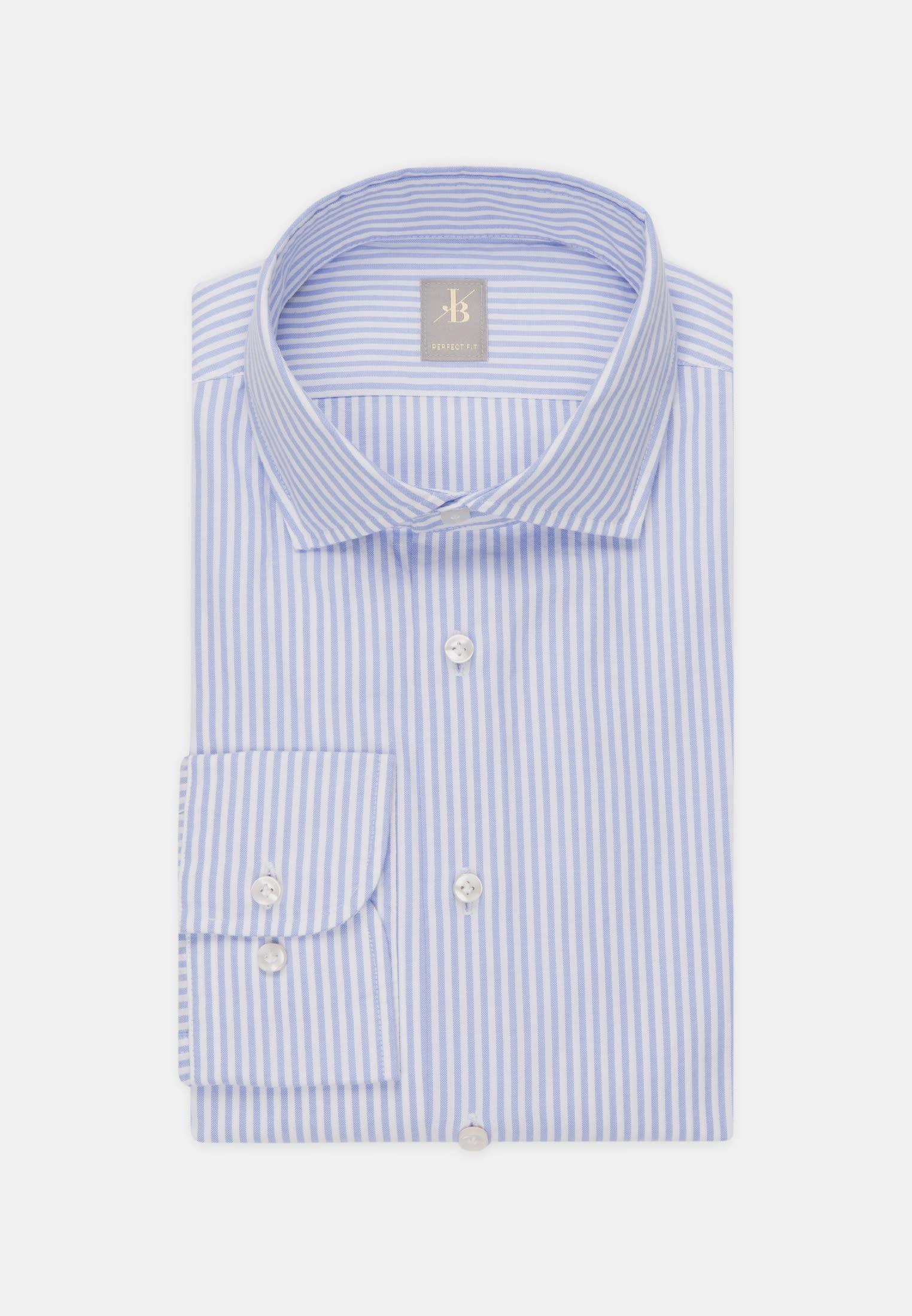 Oxford Smart Casual Hemd in Perfect Fit mit Haifischkragen in Mittelblau    Jacques Britt Onlineshop