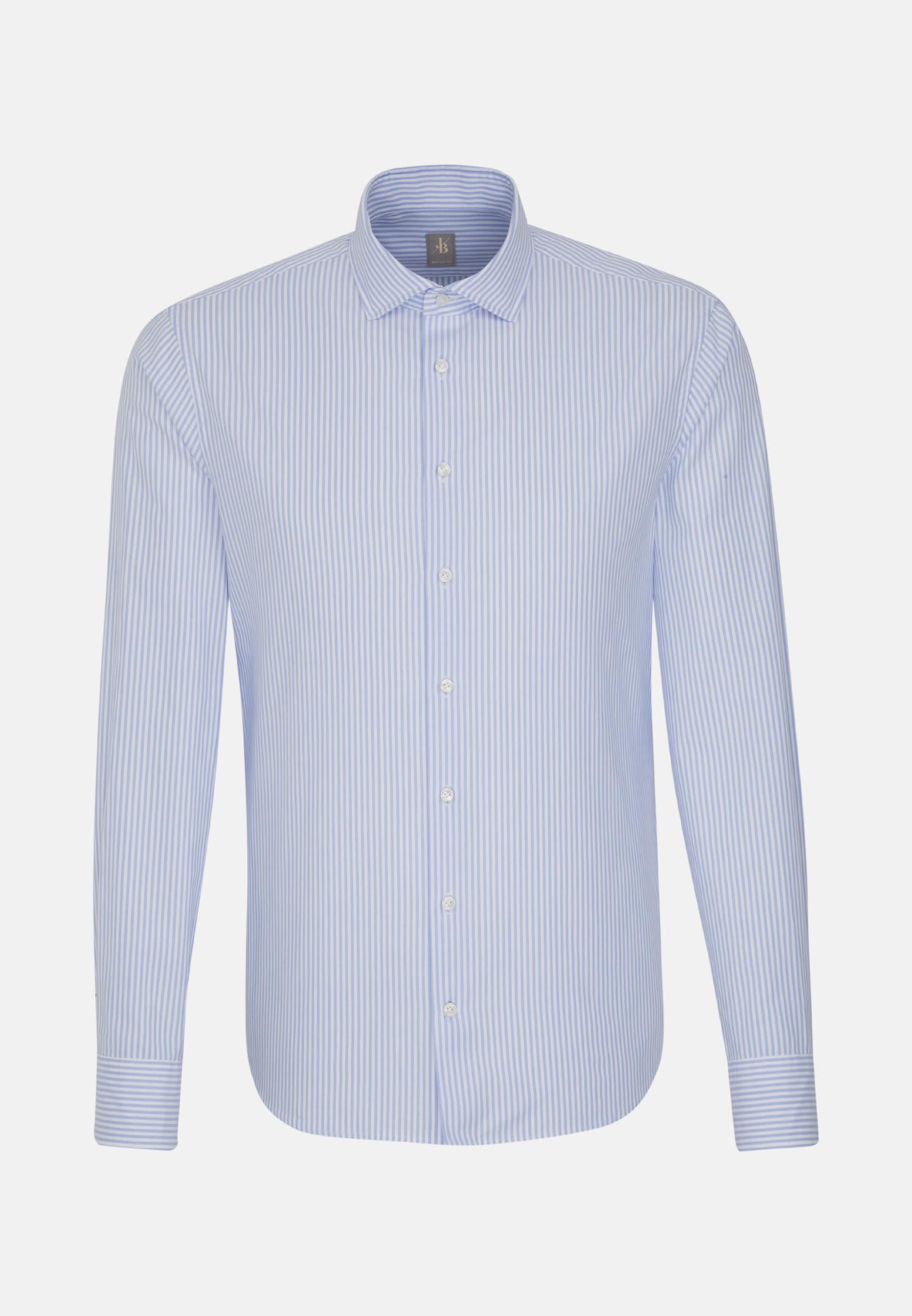 Oxford Smart Casual Hemd in Perfect Fit mit Haifischkragen in Mittelblau |  Jacques Britt Onlineshop