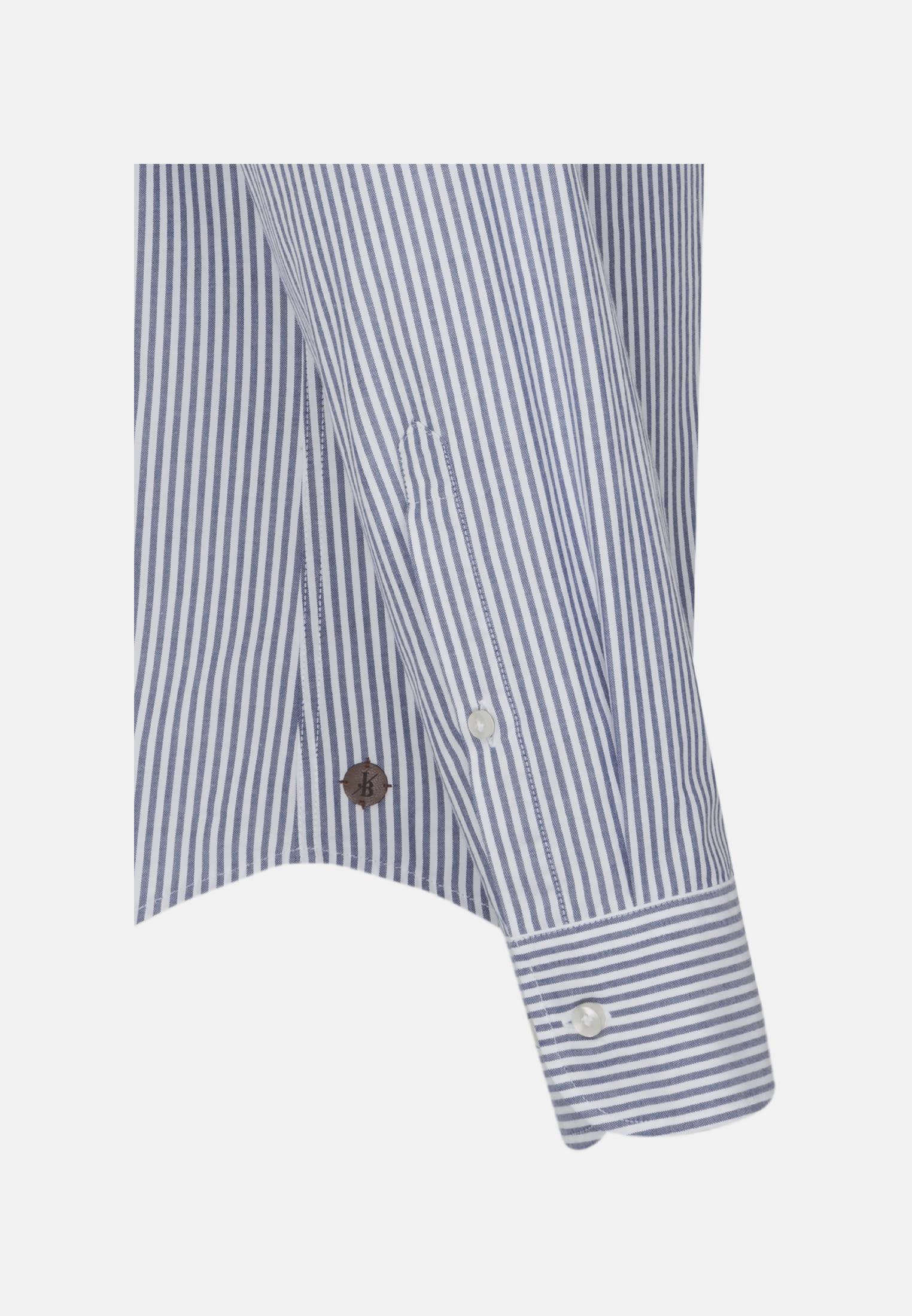 Oxford Smart Casual Hemd in Perfect Fit mit Haifischkragen in Dunkelblau |  Jacques Britt Onlineshop