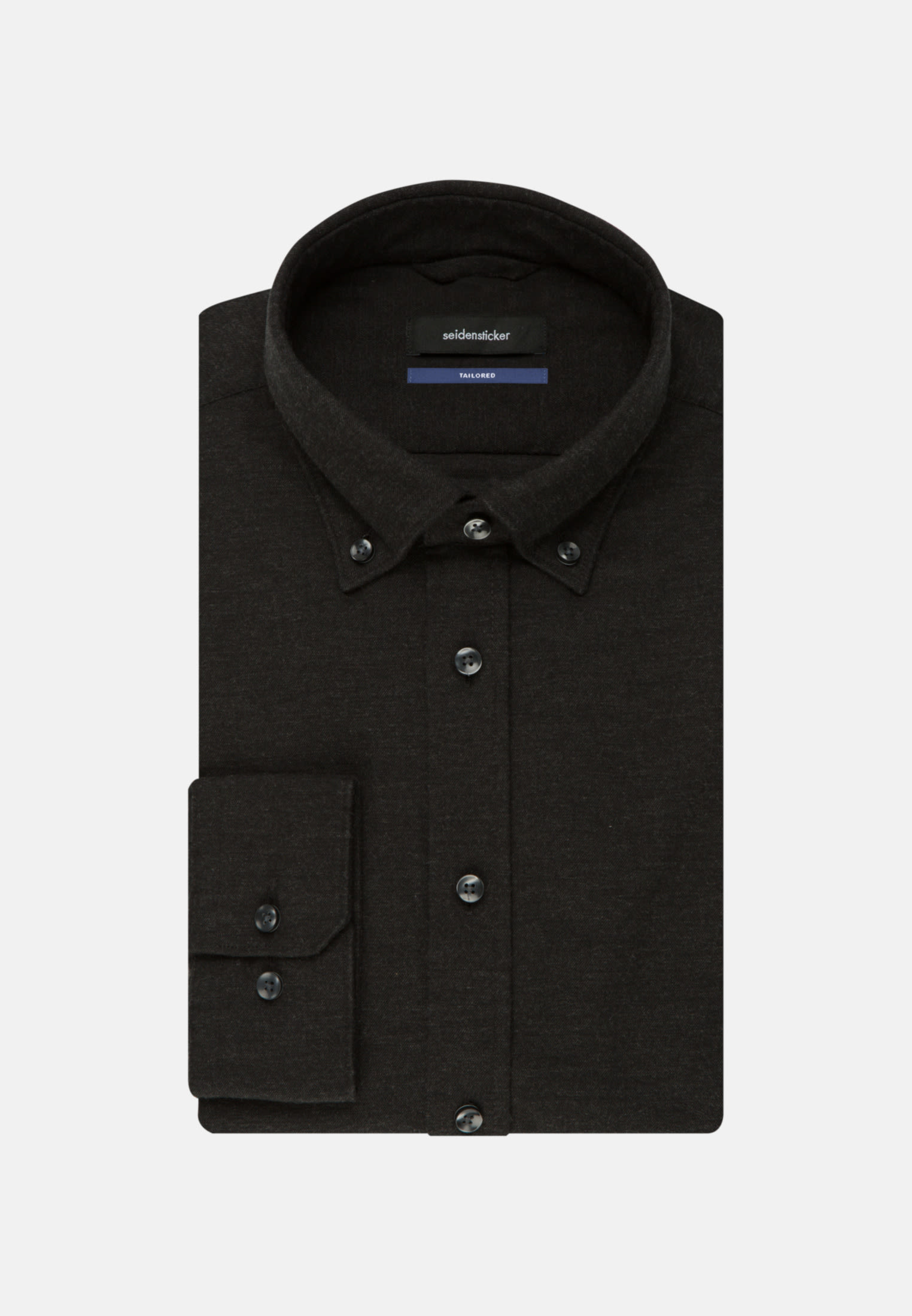 Bügelleichtes Twill Business Hemd in Tailored mit Button-Down-Kragen in Schwarz |  Seidensticker Onlineshop