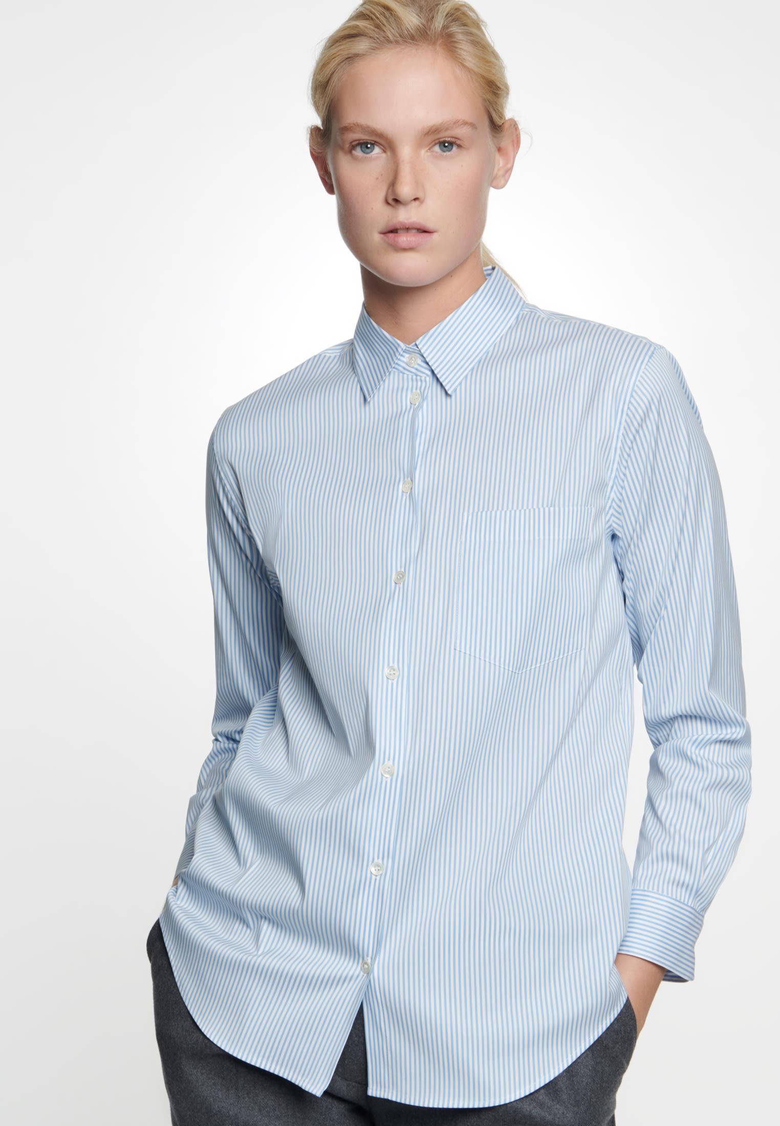 Poplin Shirt Blouse made of cotton blend in Medium blue    Seidensticker Onlineshop