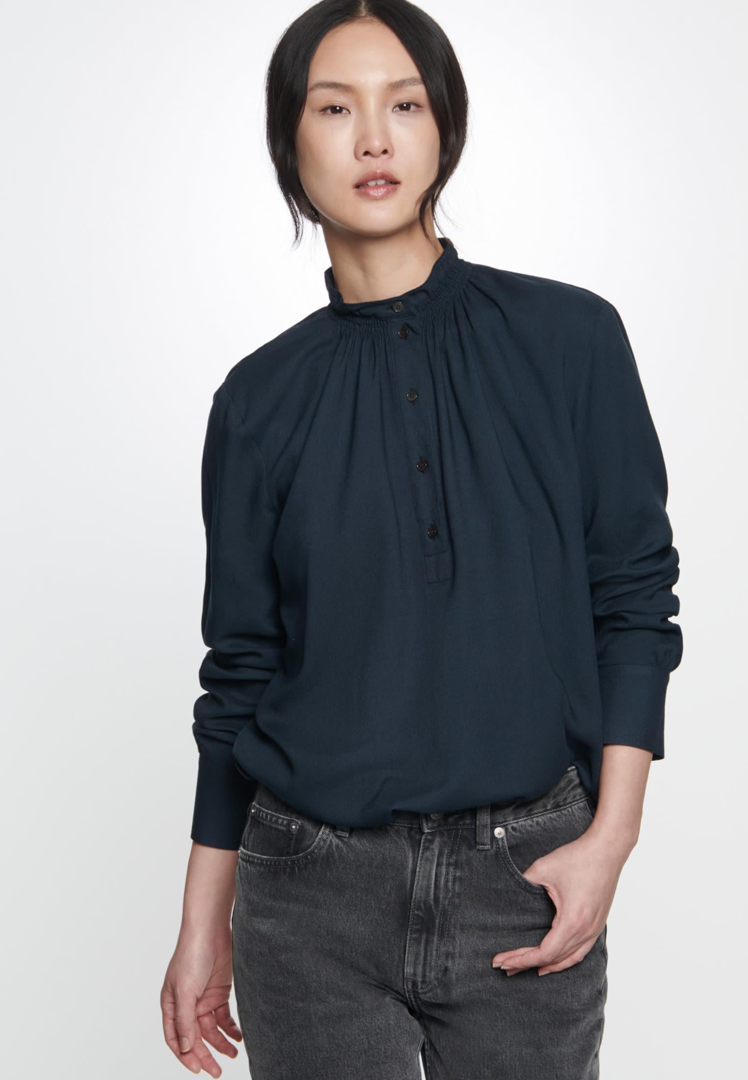 Twill Stand-Up Blouse made of 100% Viskose in Moonless Night |  Seidensticker Onlineshop