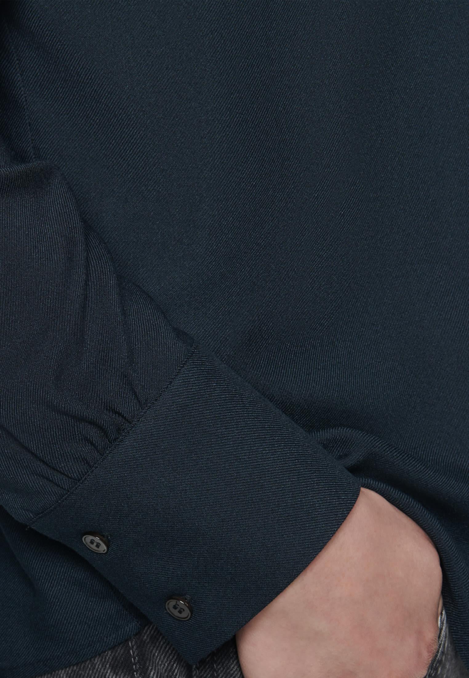 Twill Stehkragenbluse aus 100% Viskose in Schwarz |  Seidensticker Onlineshop