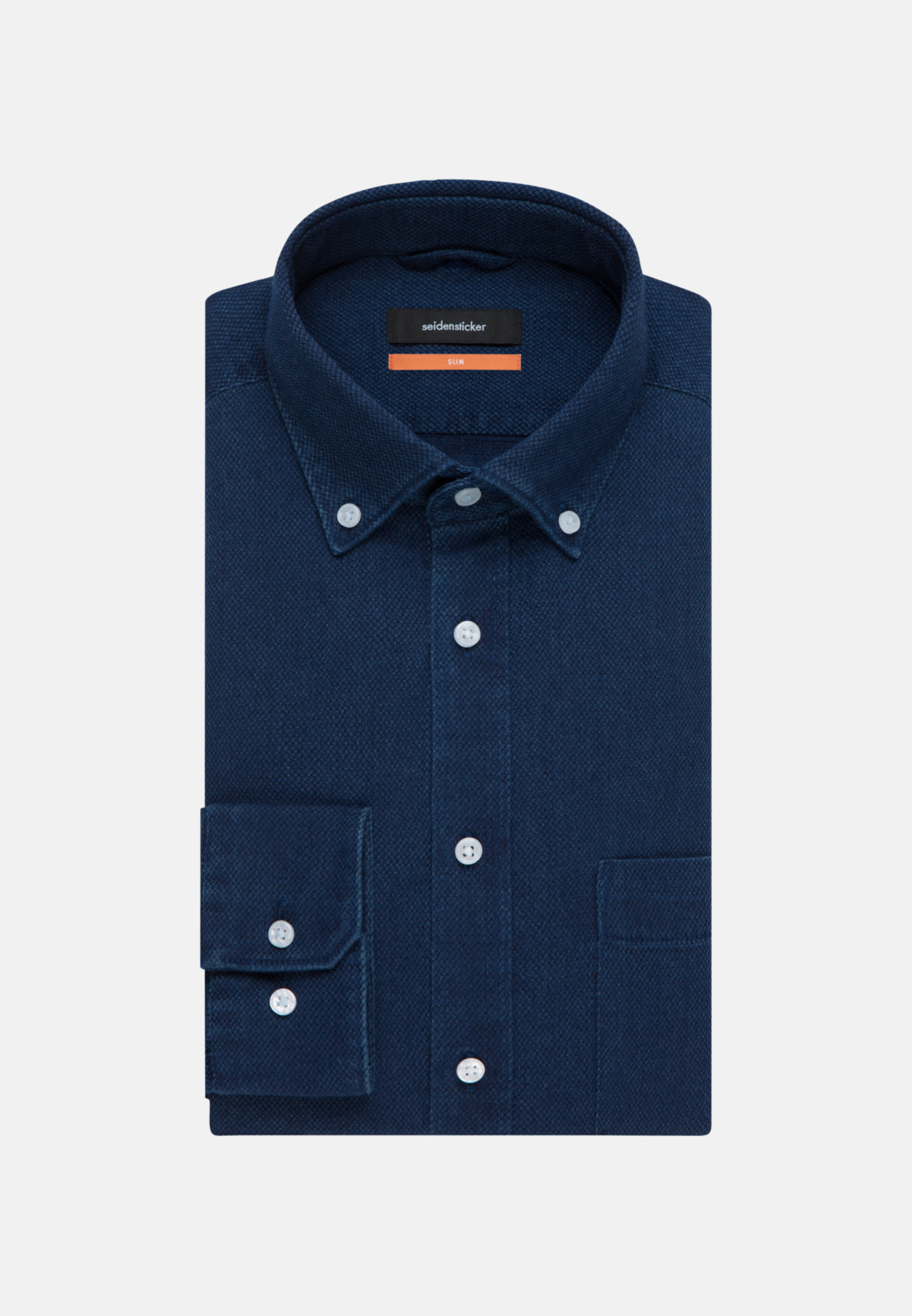 Easy-iron Structure Business Shirt in Slim with Button-Down-Collar in Dark blue |  Seidensticker Onlineshop