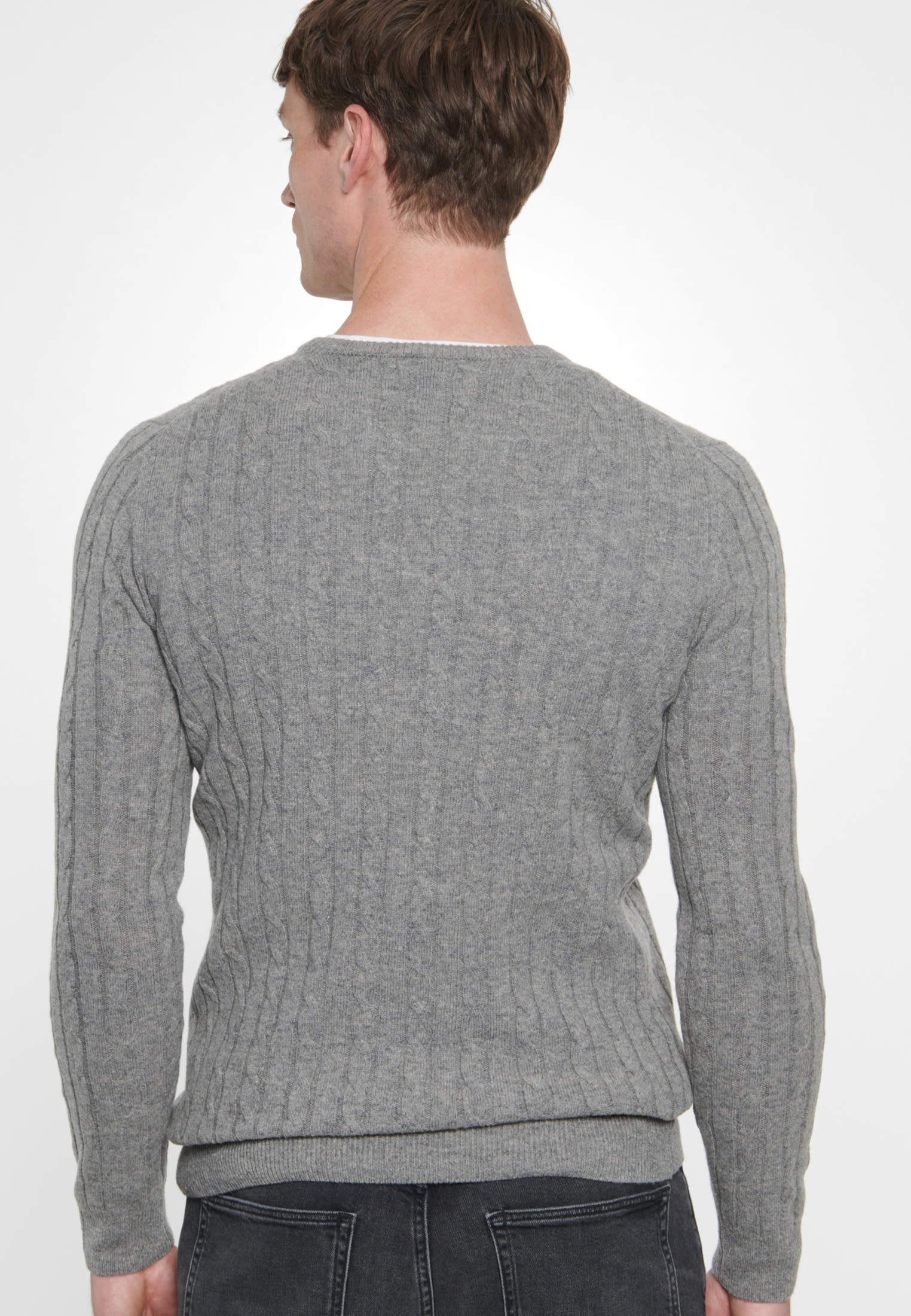 Crew Neck Pullover made of wool blend in Grey |  Seidensticker Onlineshop