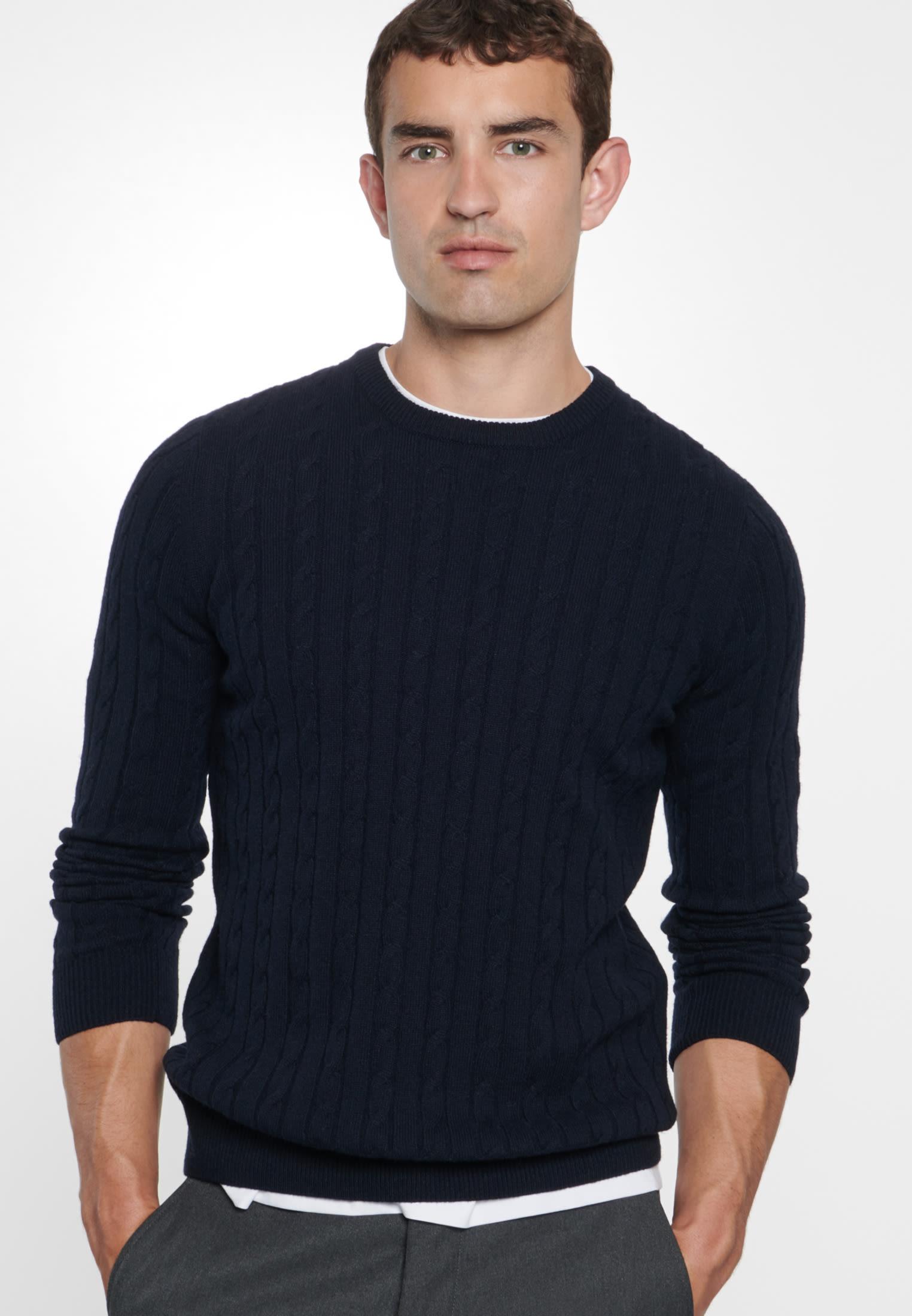 Crew Neck Pullover made of 60% Wolle 20% Polyacryl 20% Polyamid/Nylon in navy |  Seidensticker Onlineshop