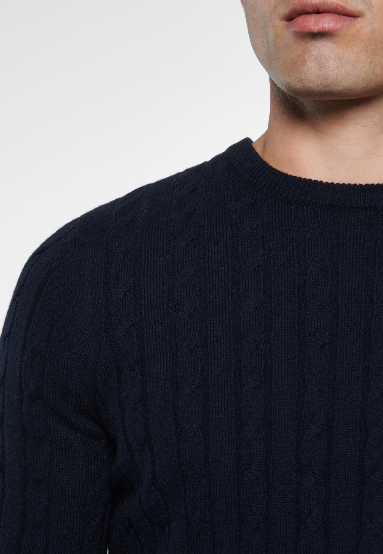 Rundhals Pullover aus Wollmischung in Dunkelblau |  Seidensticker Onlineshop