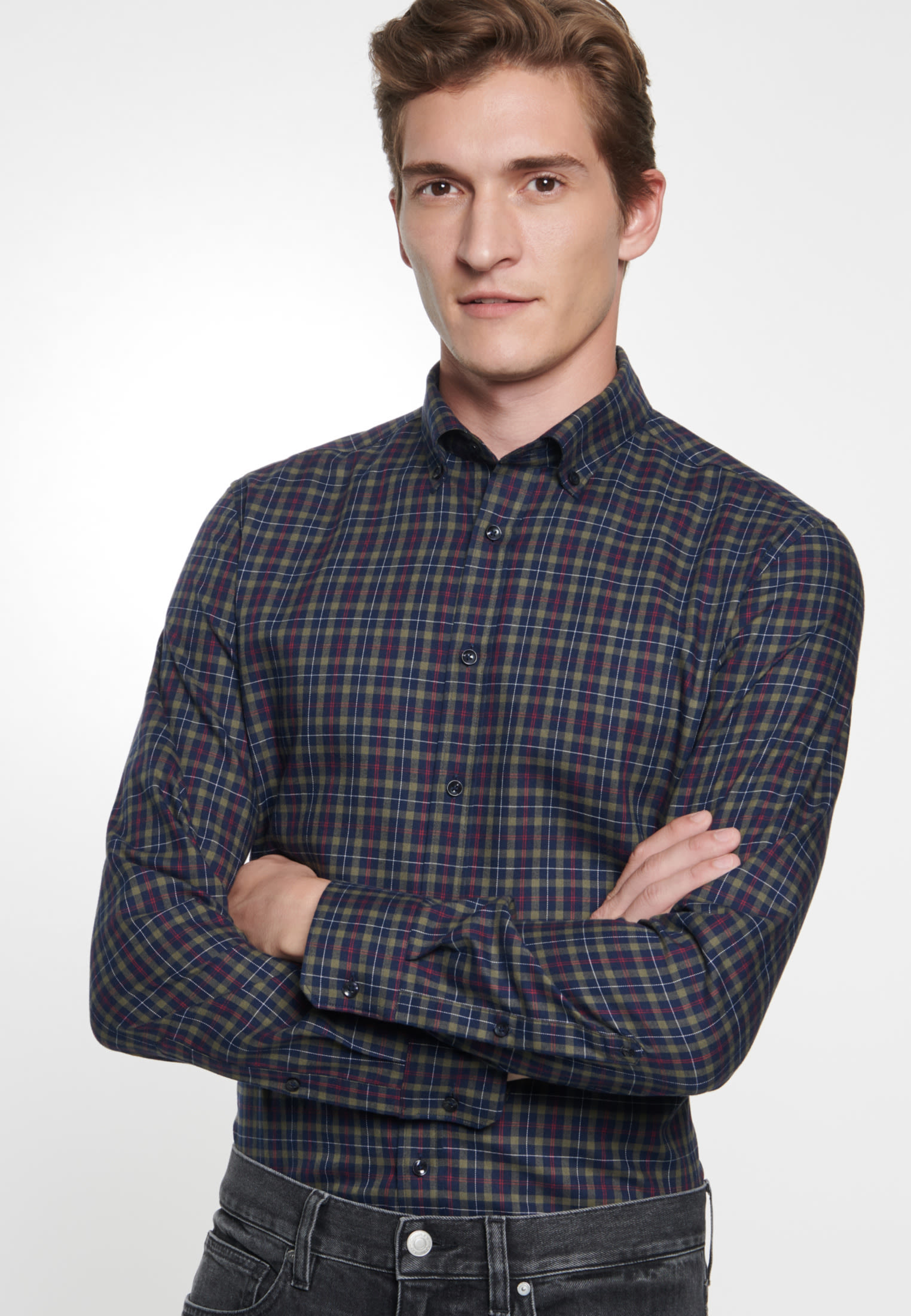 Easy-iron Twill Business Shirt in Slim with Button-Down-Collar in Green |  Seidensticker Onlineshop