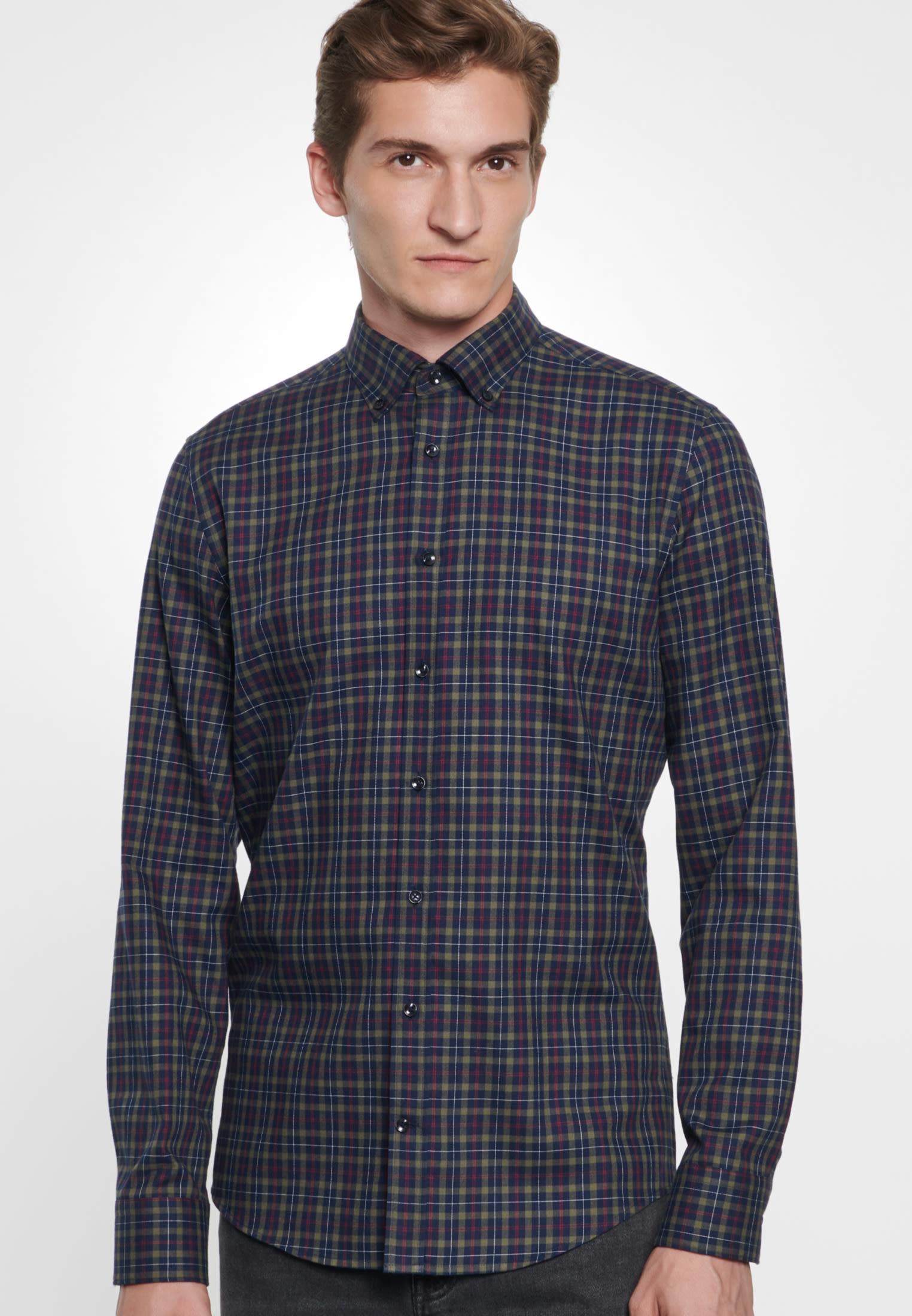Easy-iron Twill Business Shirt in Slim with Button-Down-Collar in grün |  Seidensticker Onlineshop