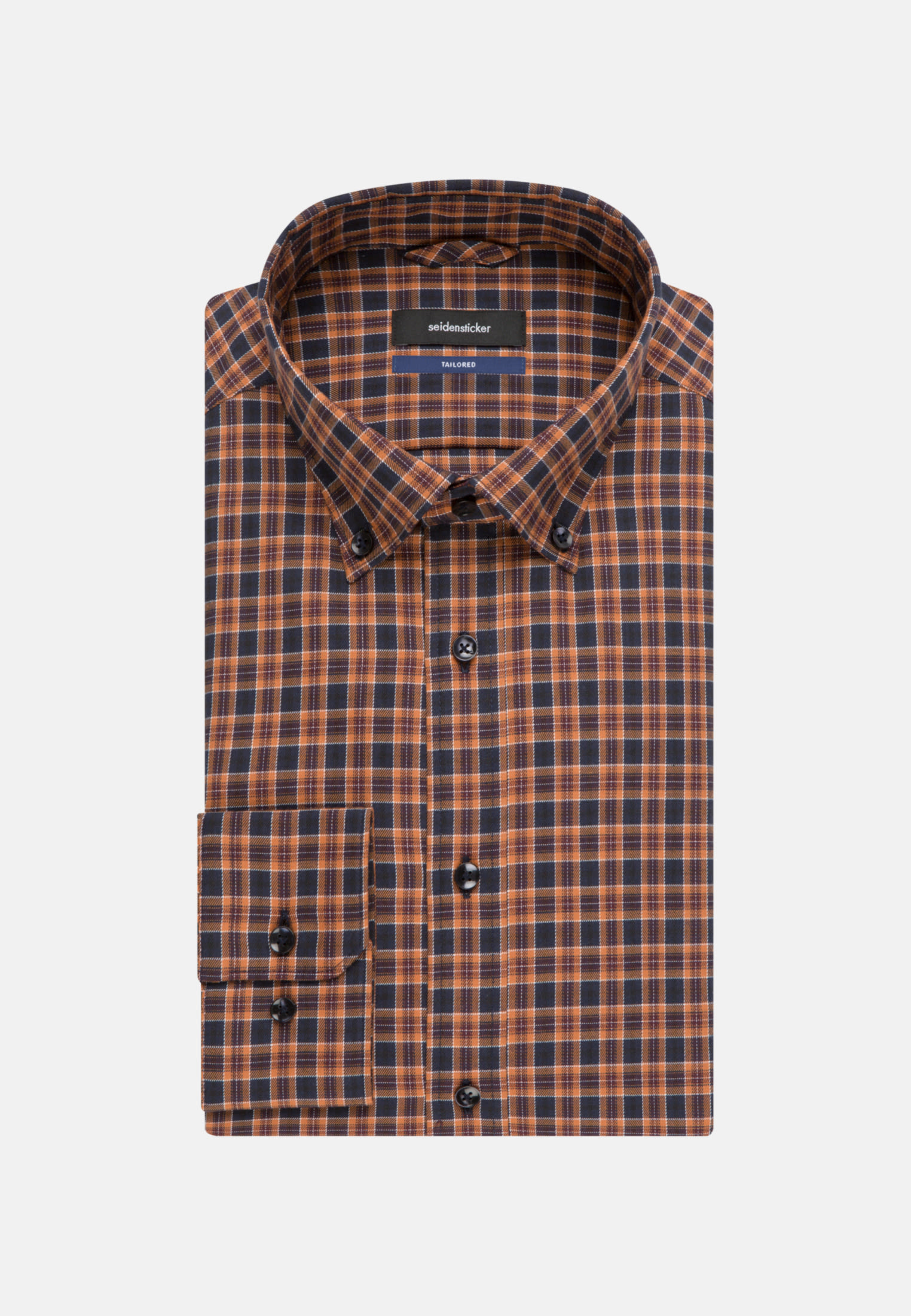 Easy-iron Twill Business Shirt in Shaped with Button-Down-Collar in Orange |  Seidensticker Onlineshop