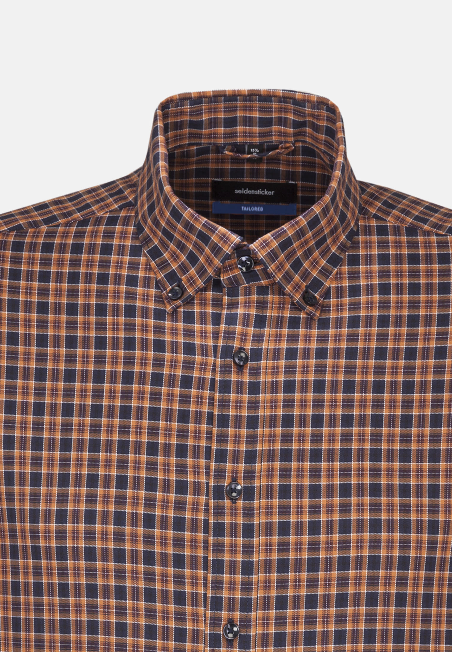 Bügelleichtes Twill Business Hemd in Tailored mit Button-Down-Kragen in Orange |  Seidensticker Onlineshop